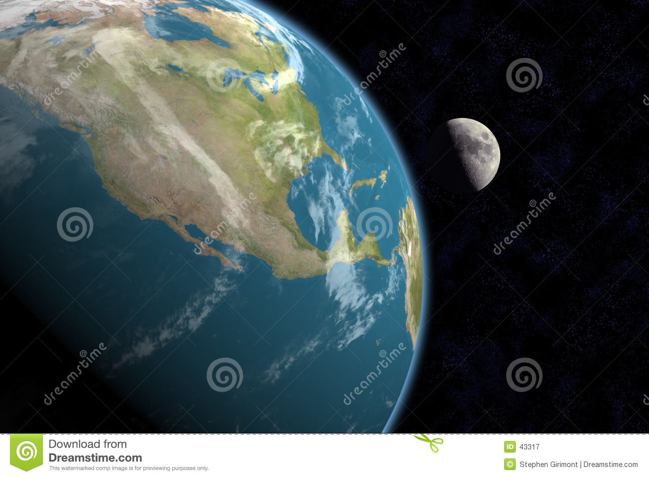 North America and Moon, with Stars