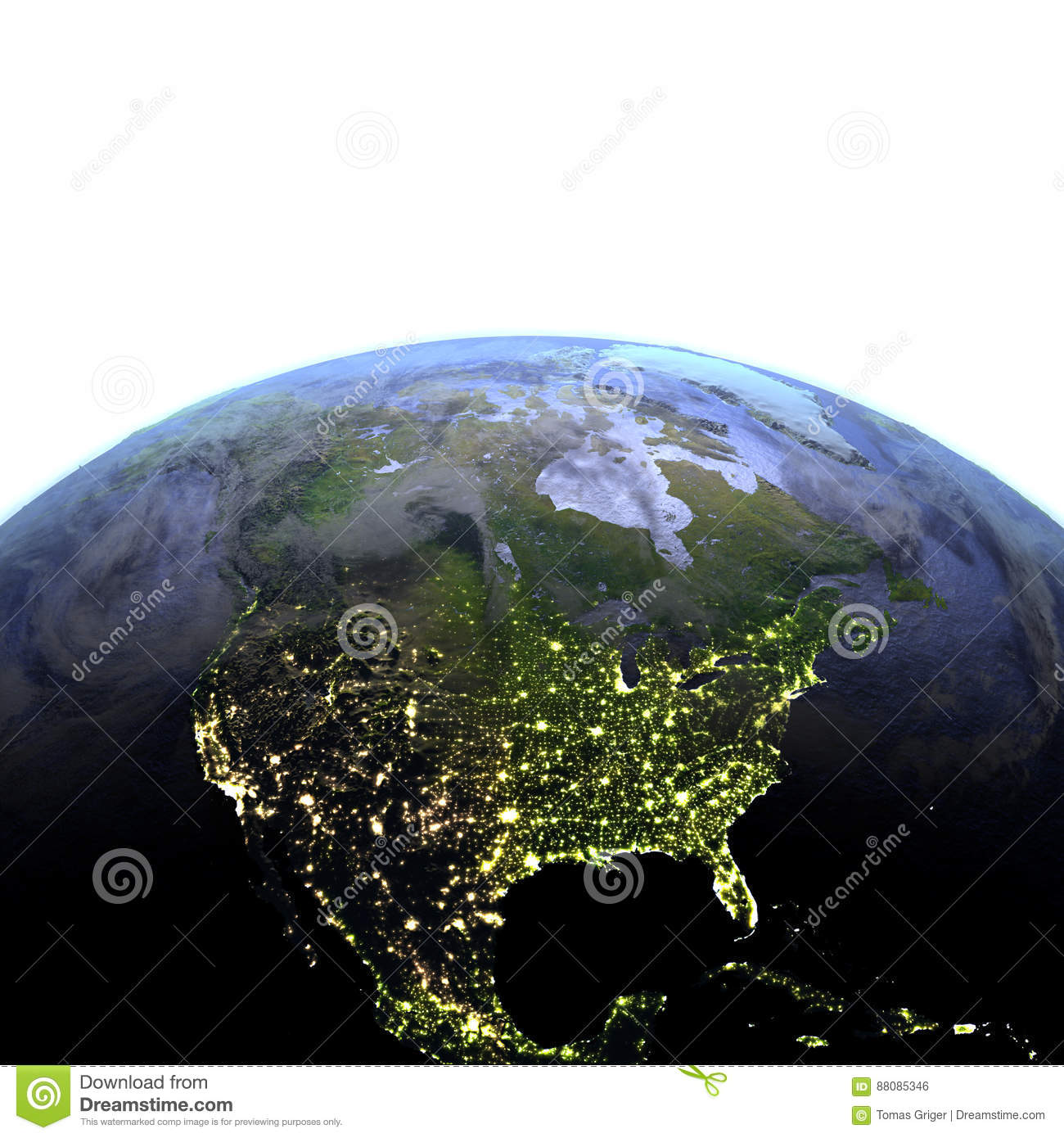 North America at night on realistic model of Earth