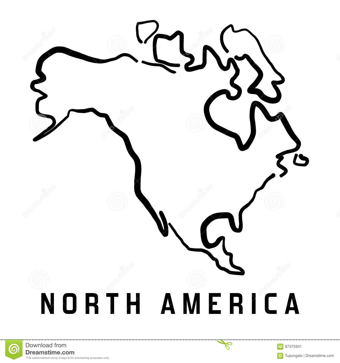 North America Simple Map Outline   Smooth Simplified Continent Shape Map  Vector.