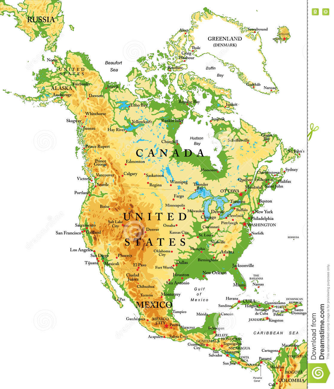 North Americaphysical Map Stock Vector Image - Map of n america