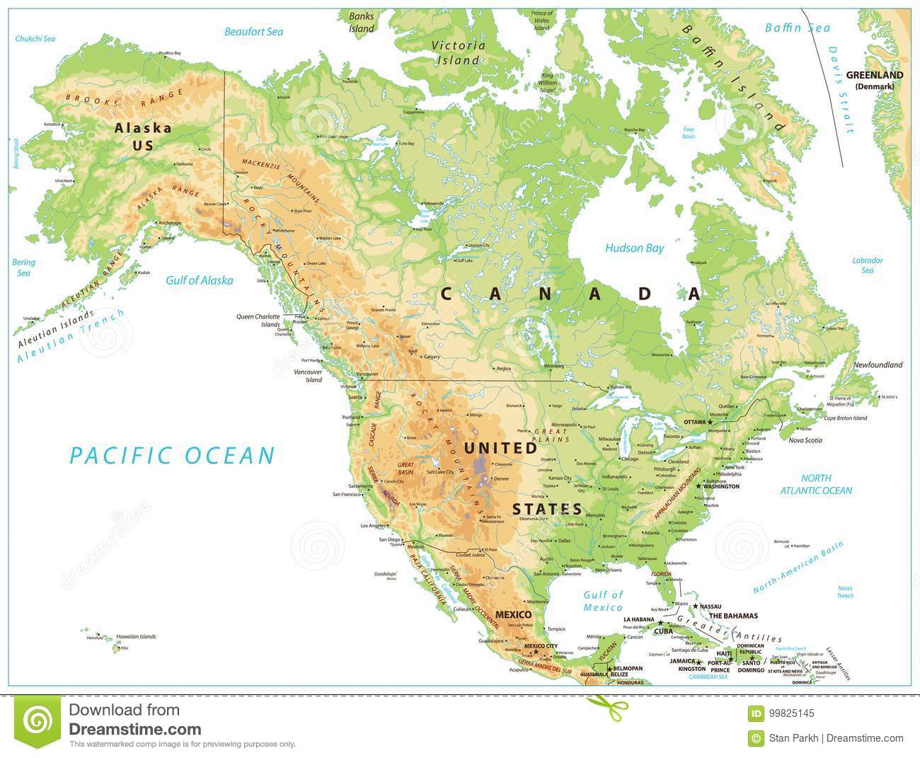 North America Physical Map Isolated On White Stock Vector