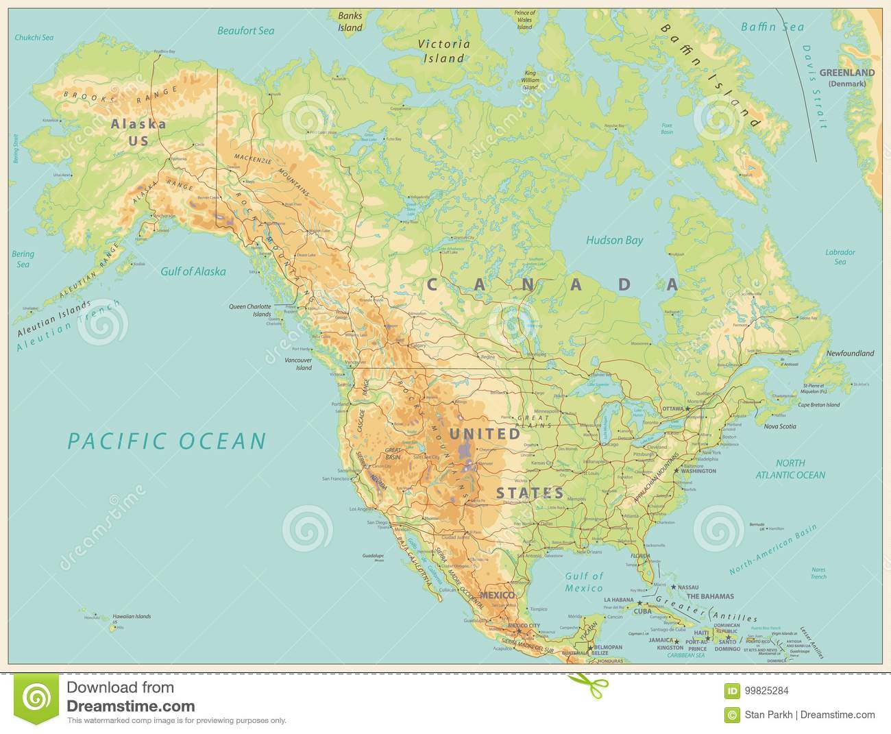 North America Physical Map. Vintage Color Stock Vector ...
