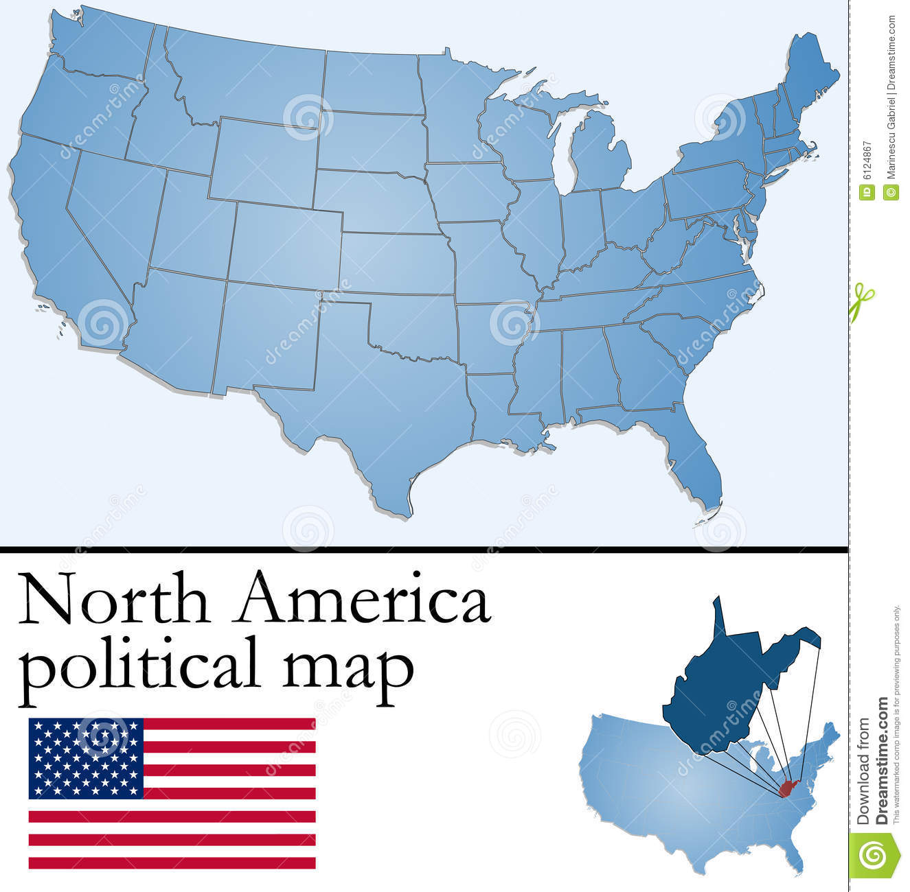 North America Political Map Illustration 6124867 - Megapixl