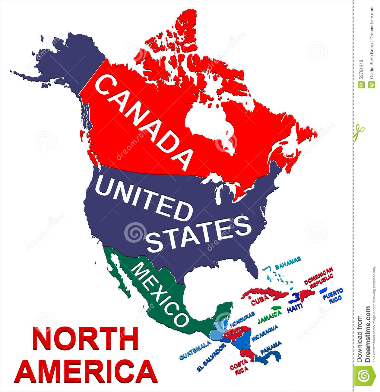 North America Political Map Stock Vector Image 53791413