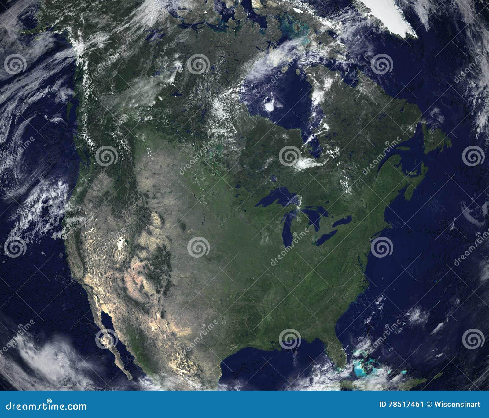 North America Space Satellite View Stock Photo Image - North america satellite image