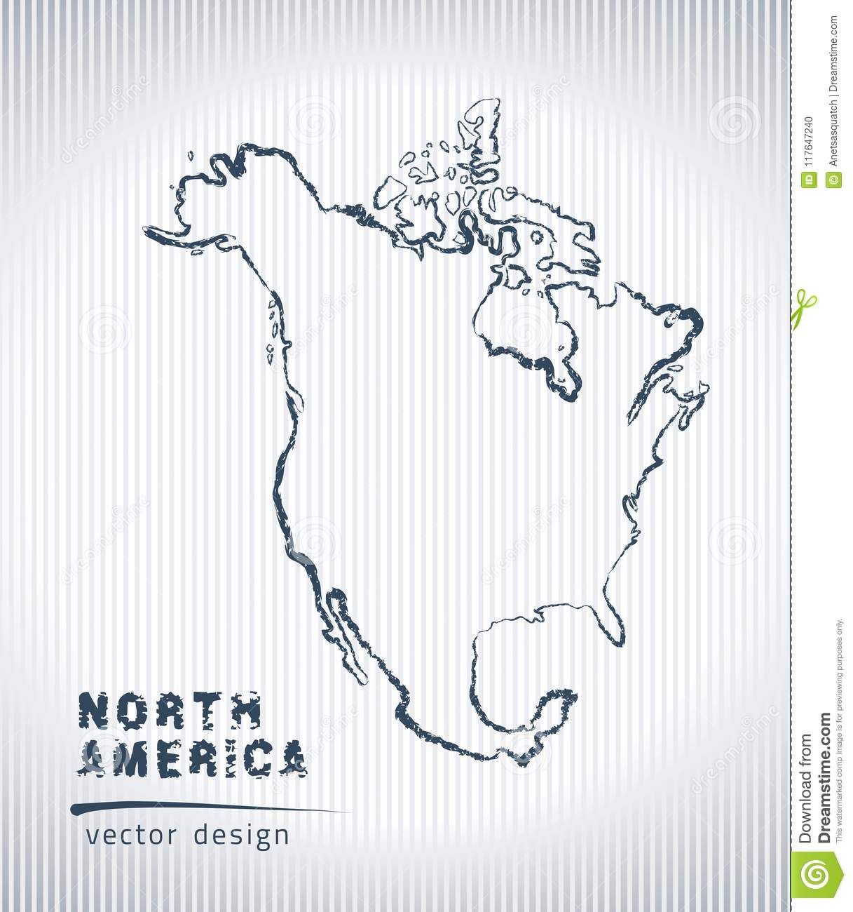 Sketch Map Of North America North America Vector Chalk Drawing Map Isolated On A White