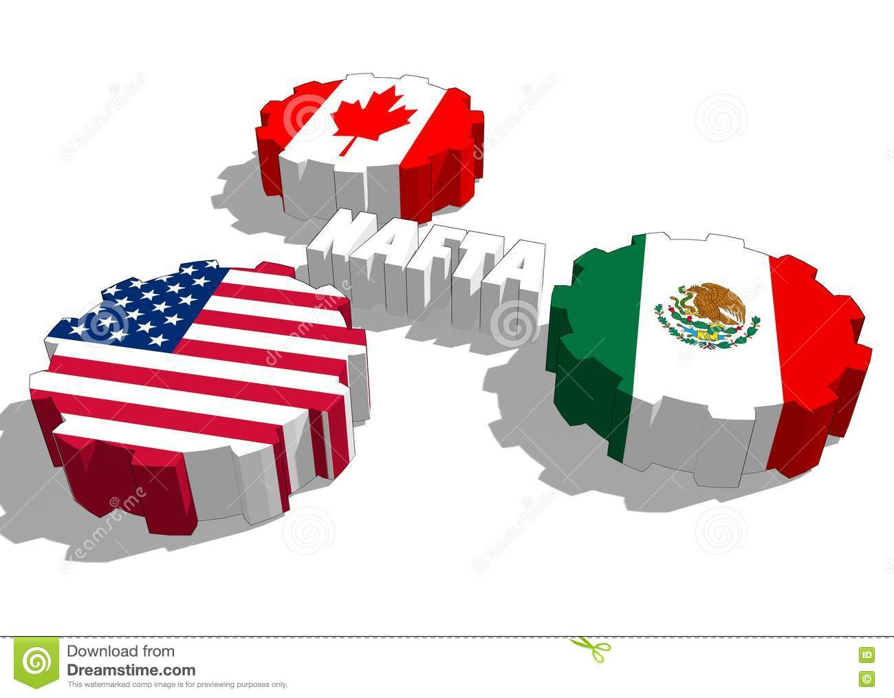 North American Free Trade Agreement Members National Flags Stock