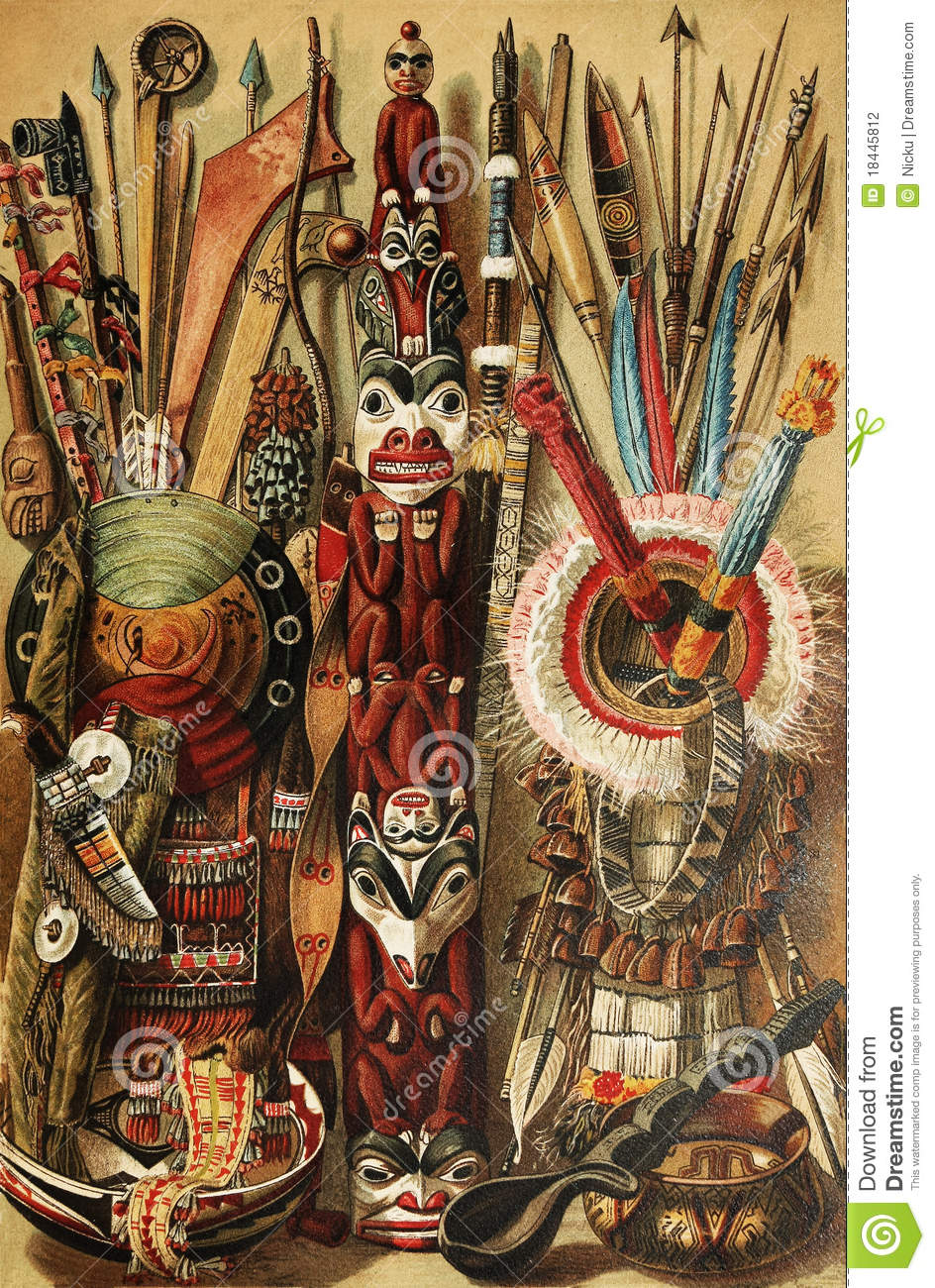 North American Indian culture tools. The drawing is over 100 years old