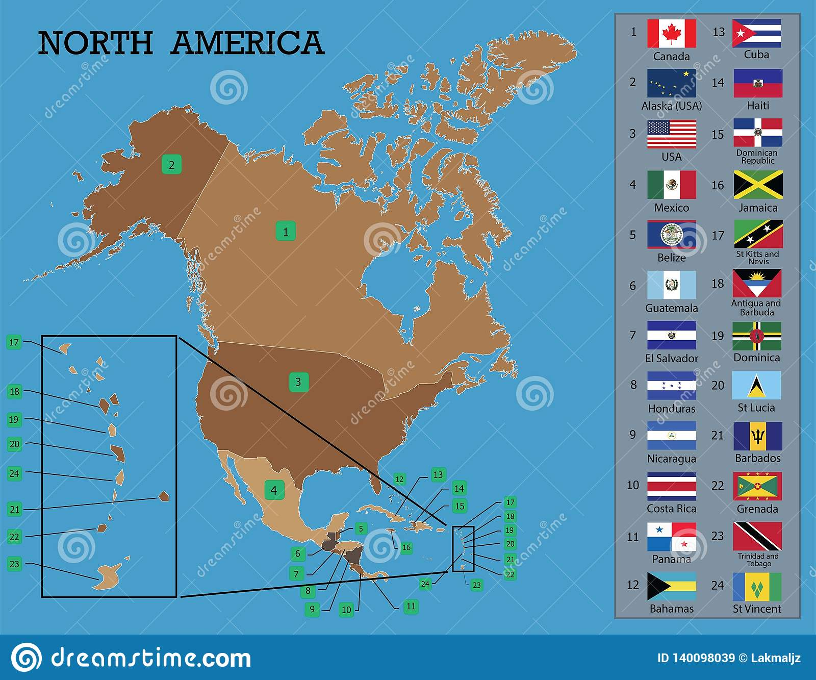 North American Map And Flags Stock Vector - Illustration of ...