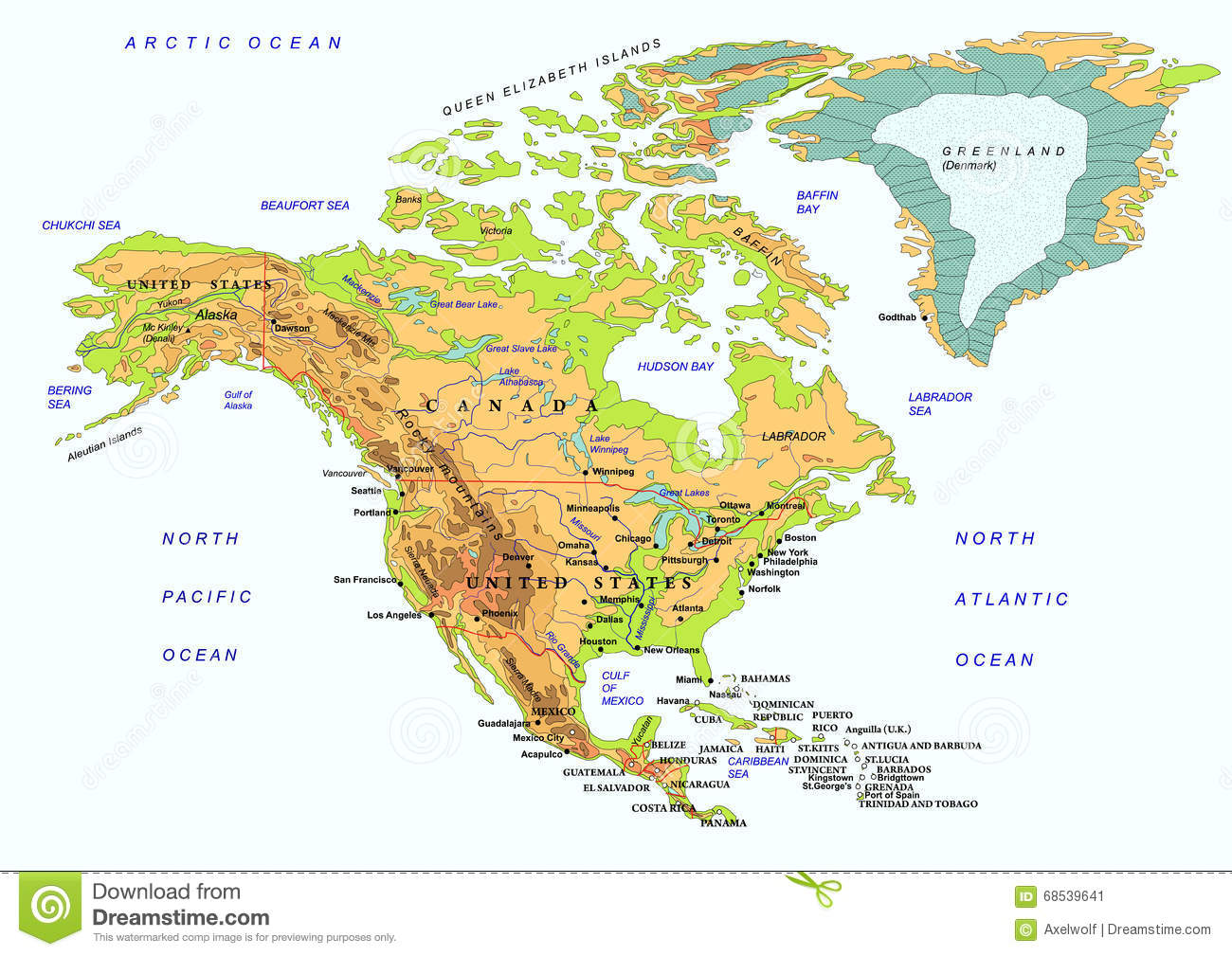 north american map with names of objects vector stock vector