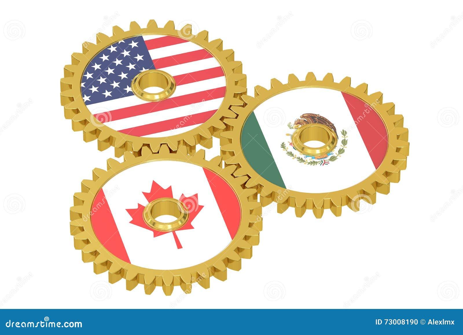 North American Union, NAU concept on a gears