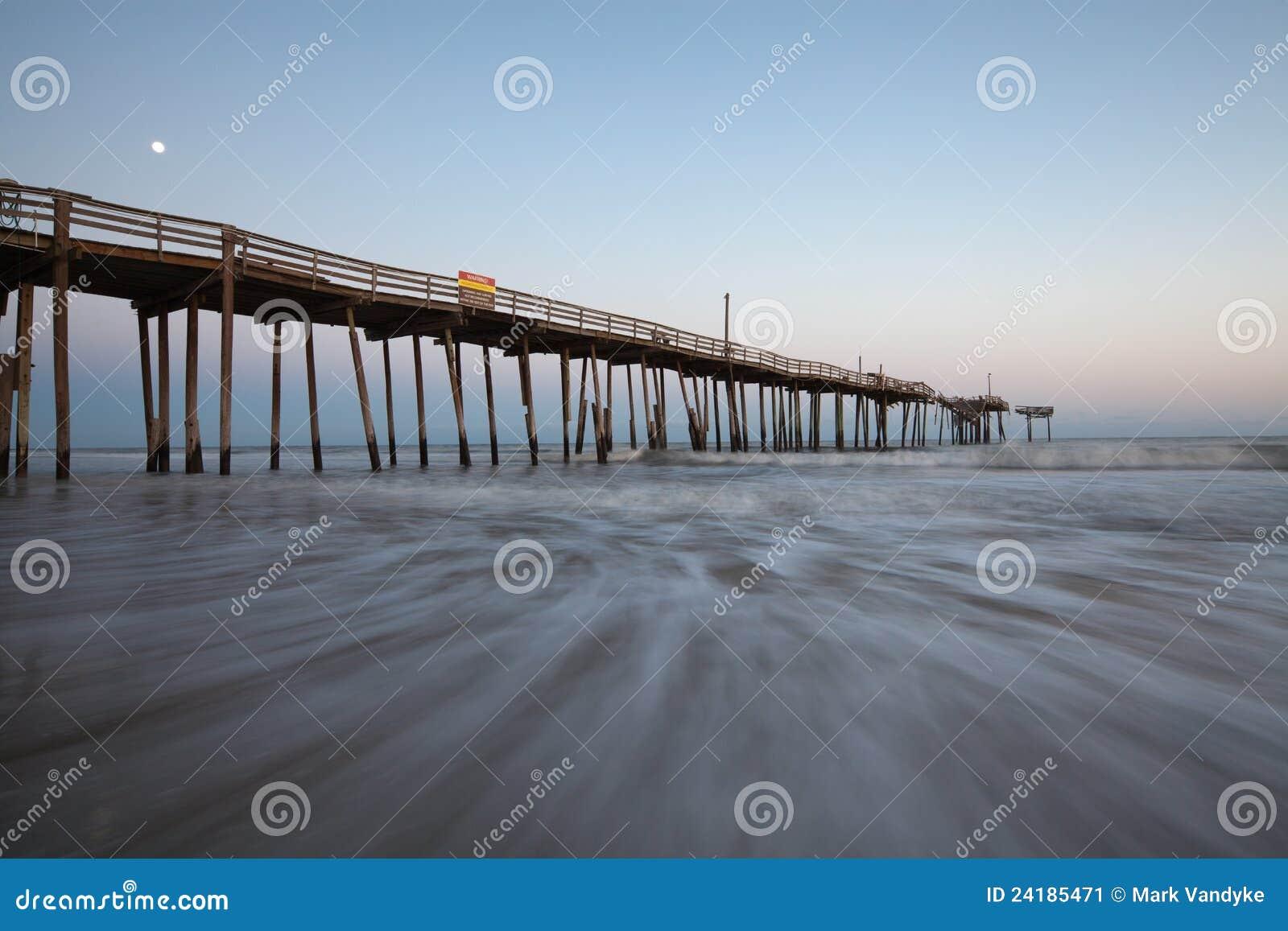 North carolina fishing pier obx moonlight stock image for Nc fishing piers