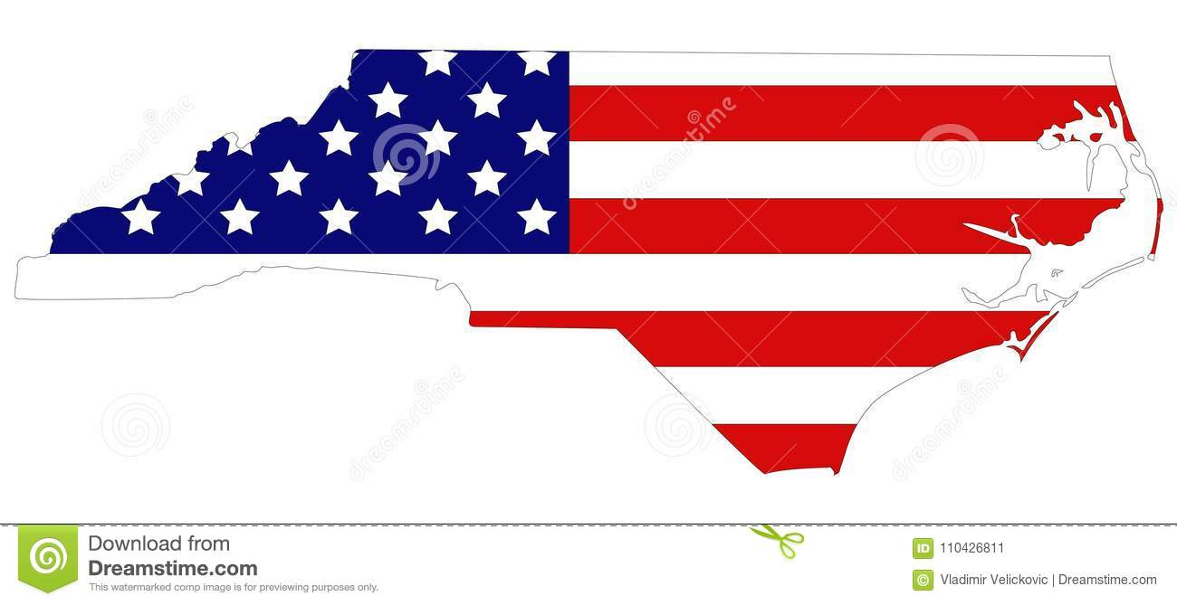 Southeastern Map Of Usa.North Carolina Map With Usa Flag State In The Southeastern Region