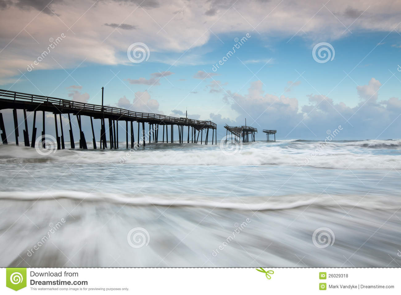 North carolina outer banks fishing pier royalty free stock for Fishing outer banks nc