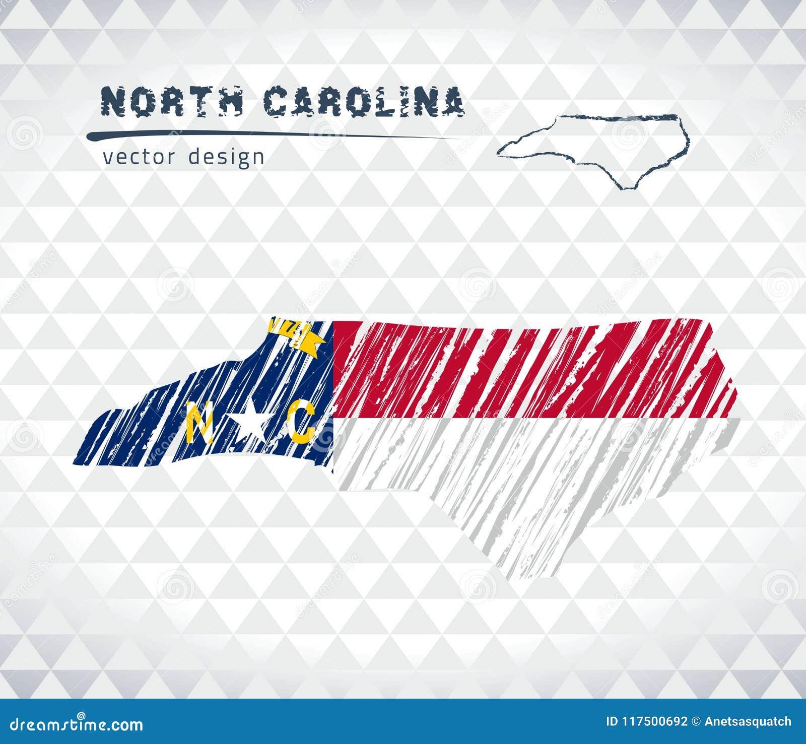 North Carolina vektoröversikt med flaggainsidan som isoleras på en vit bakgrund Skissa drog illustrationen för krita handen