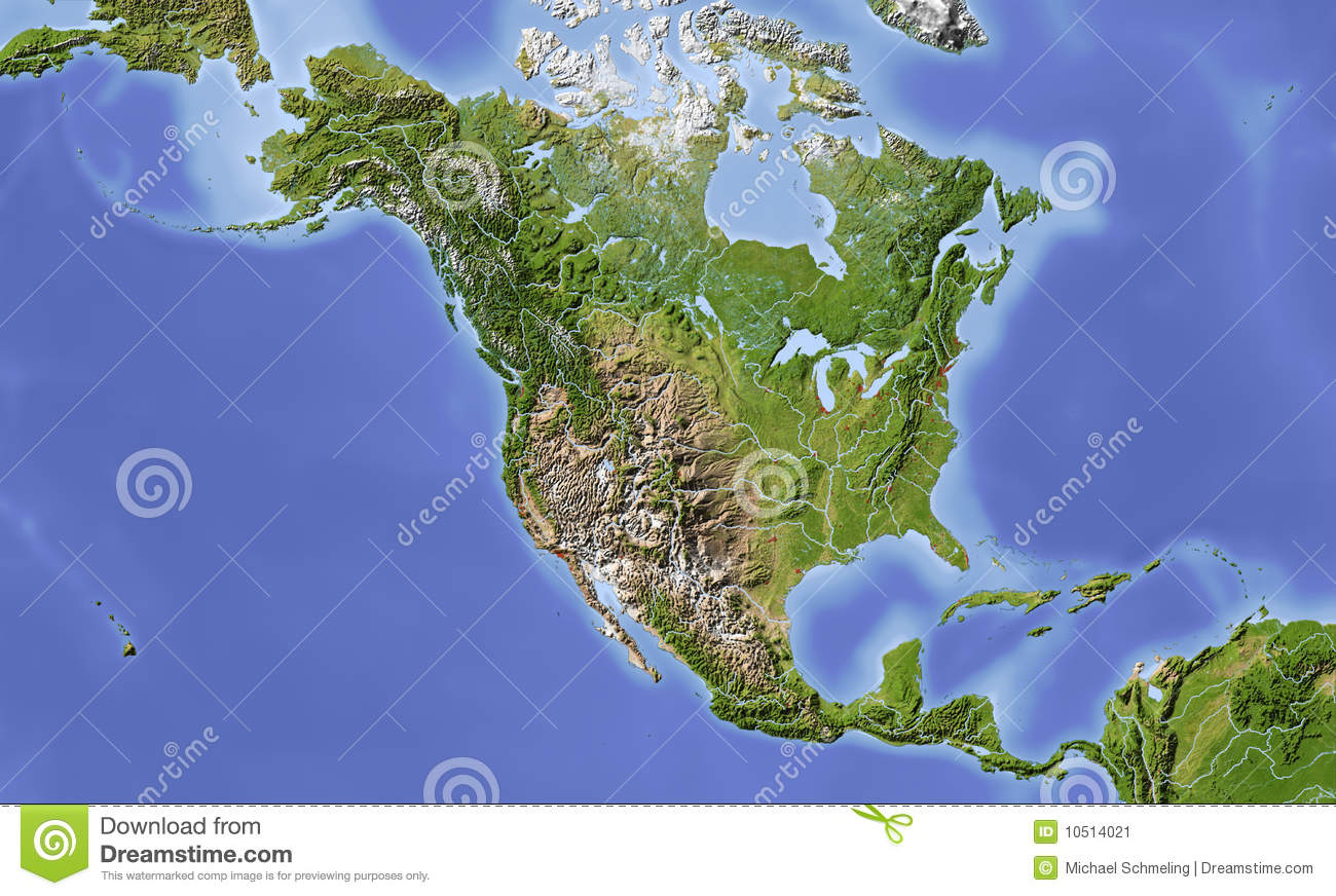 North And Central America, Shaded Relief Map Stock ...