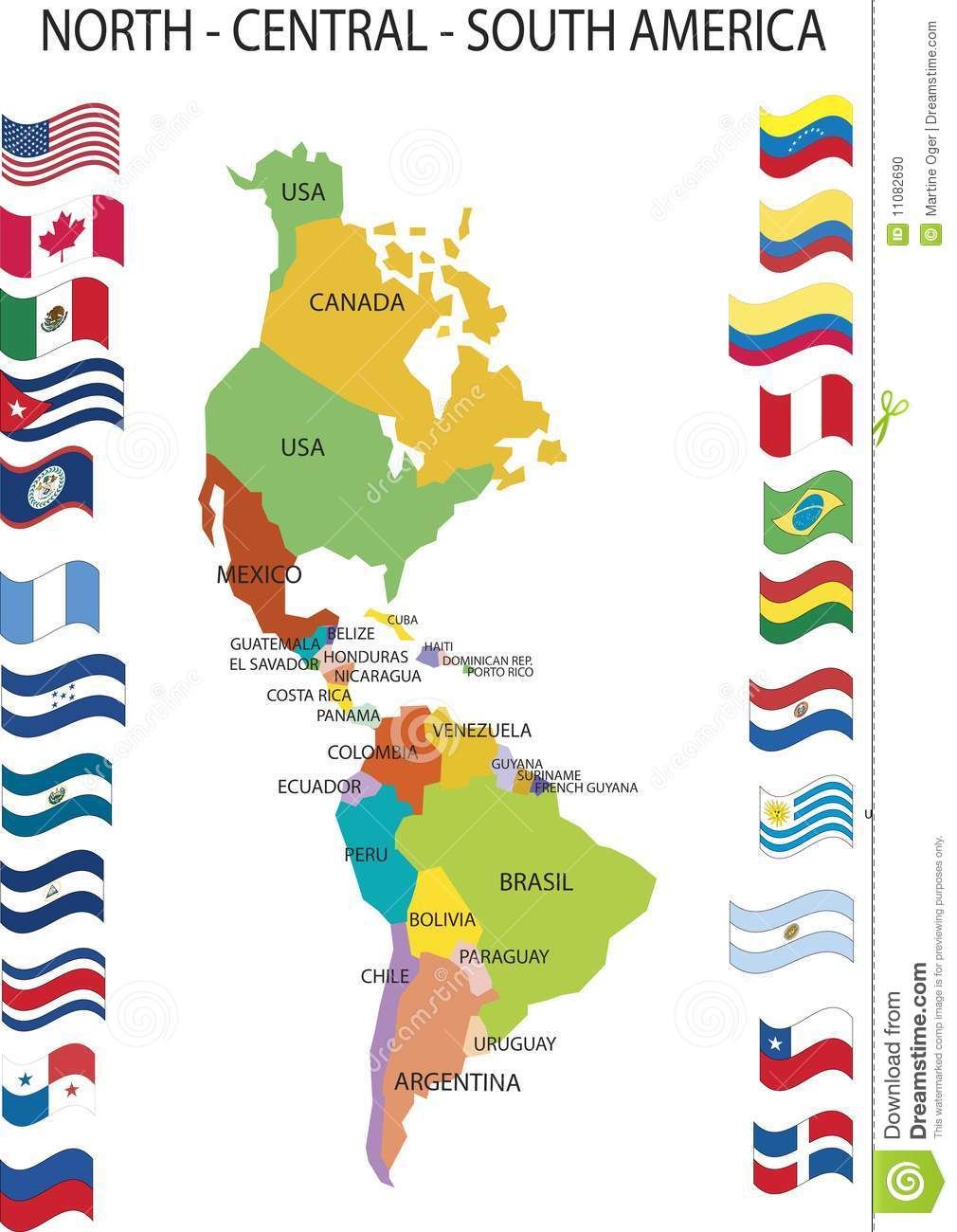 North Central South America Stock Photo Image - North and south america map