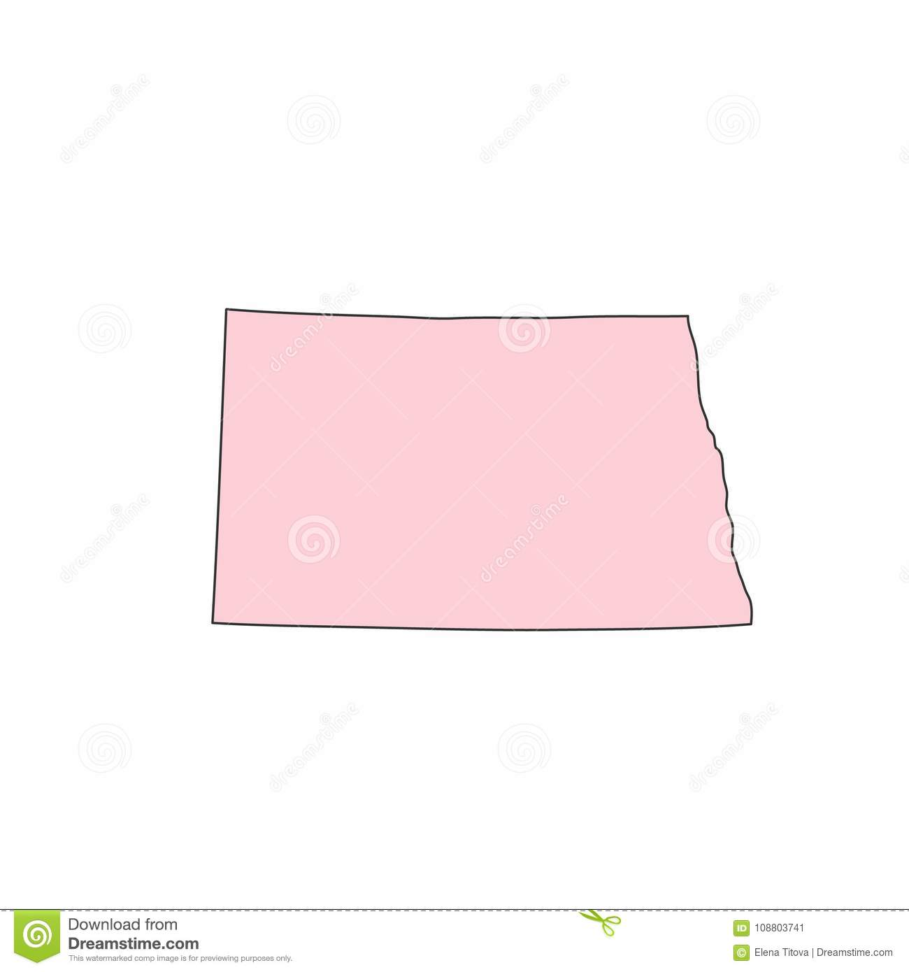 North Dakota Map Isolated On White Background Silhouette. North ...