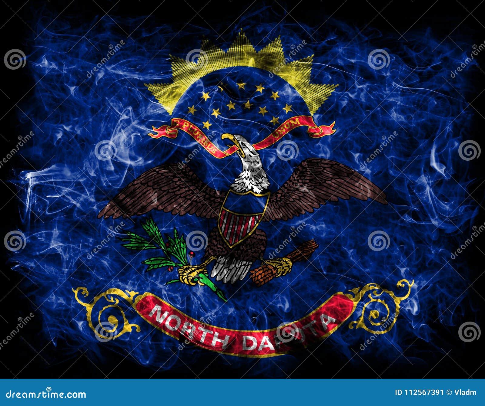 North Dakota State Smoke Flag United States Of America Stock Image