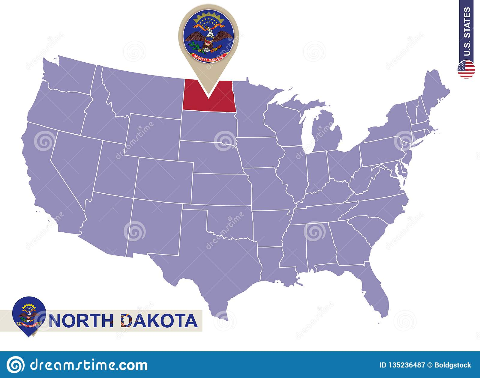 North Dakota State On USA Map. North Dakota Flag And Map Stock ... on