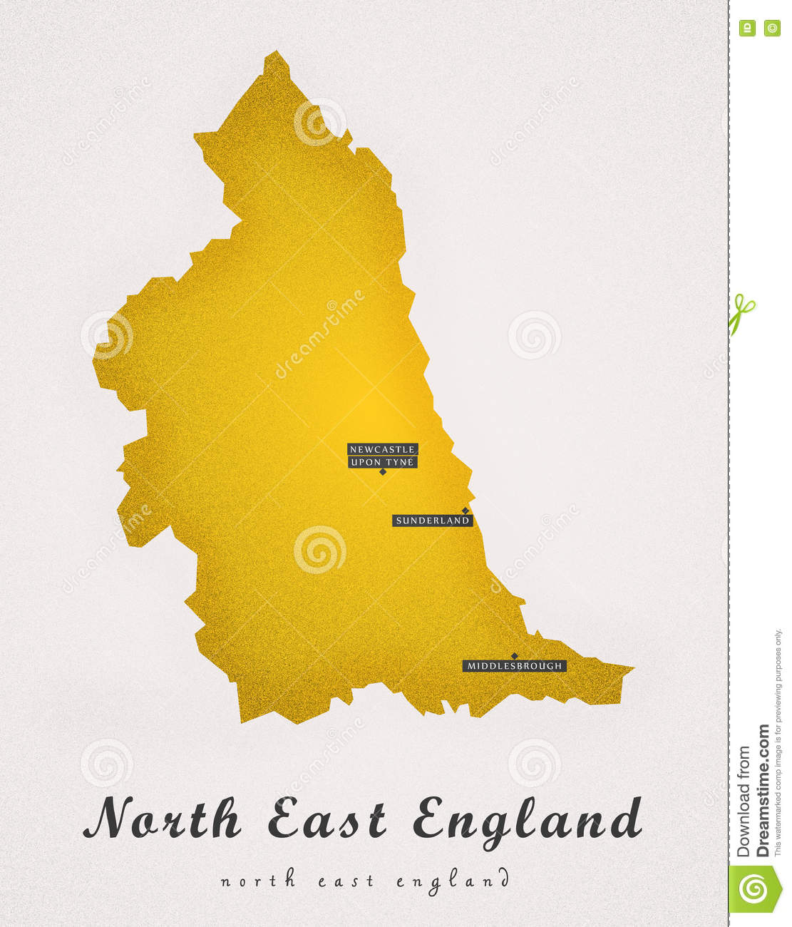 Map Of Uk North East.North East England Art Map Stock Illustration Illustration Of