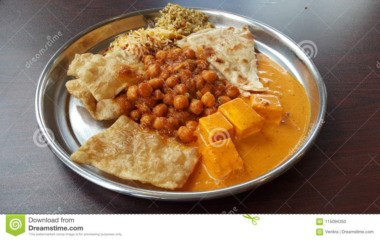 North Indian Food In A Plate Stock Photo Image Of Batura