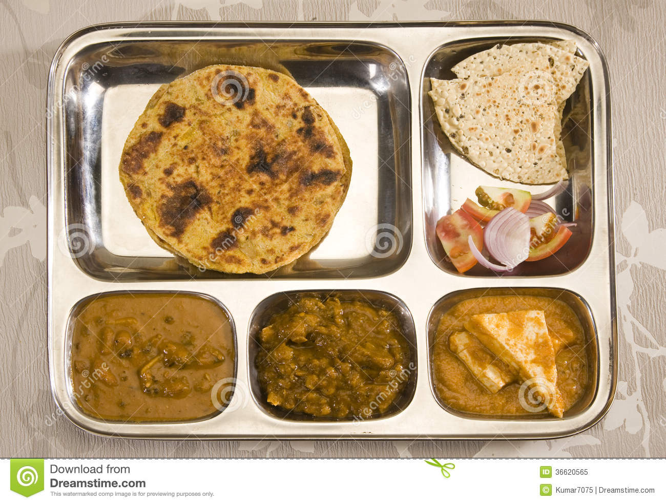 North Indian Thali Stock Image Image Of Paratha Curry 36620565