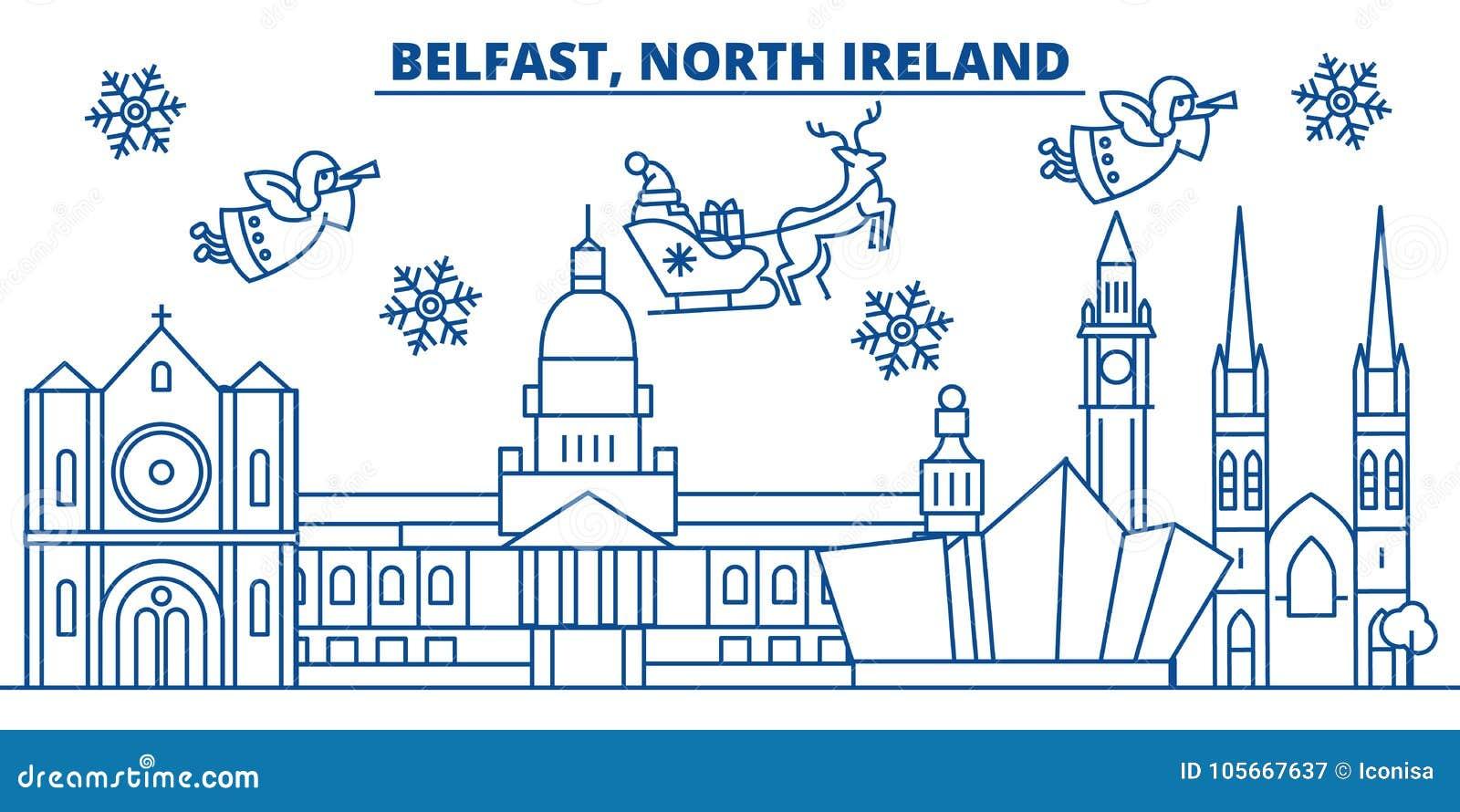 North Ireland, Belfast Winter City Skyline. Merry Stock Vector ...