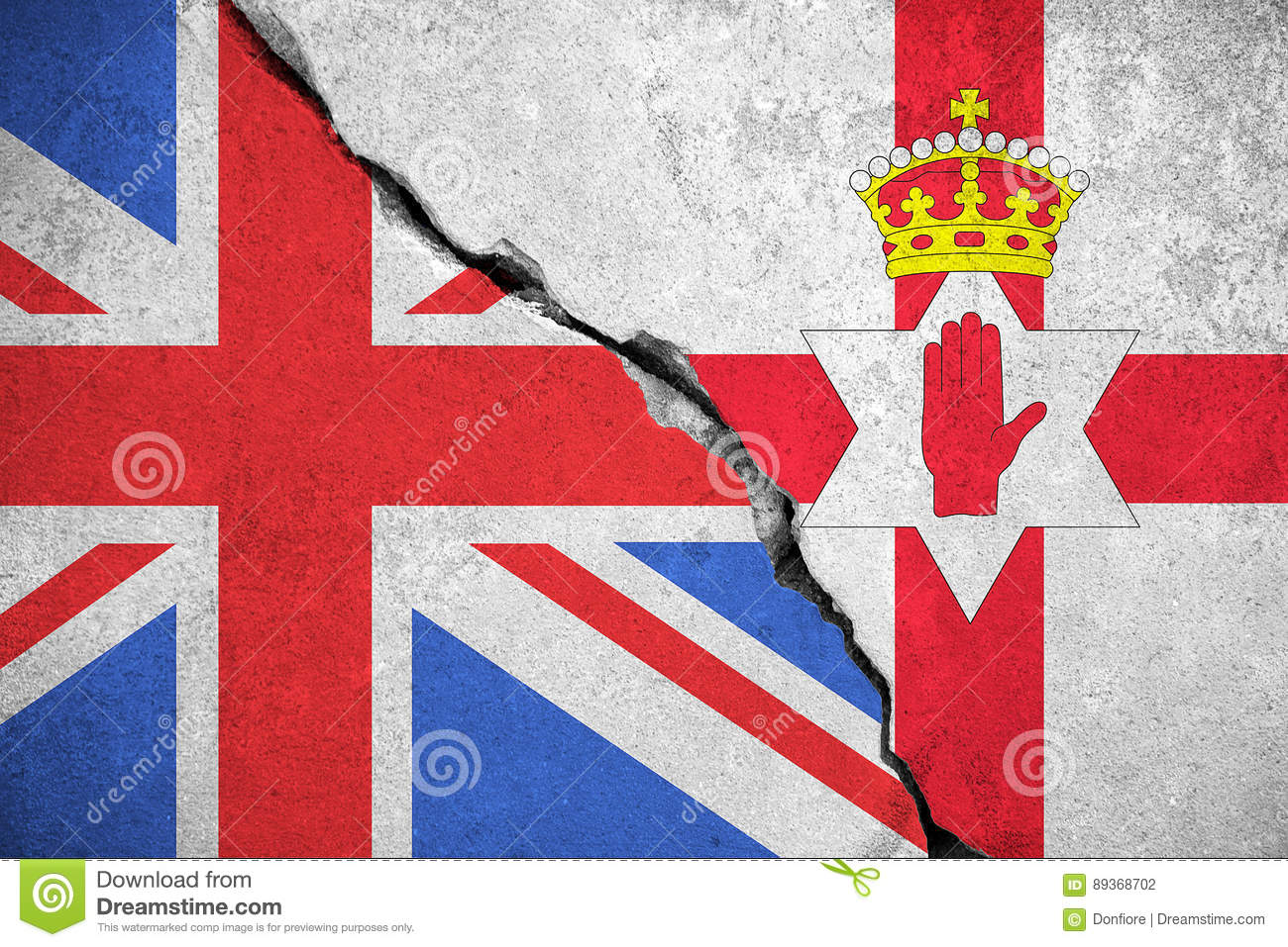north ireland flag on broken wall and half great britain flag