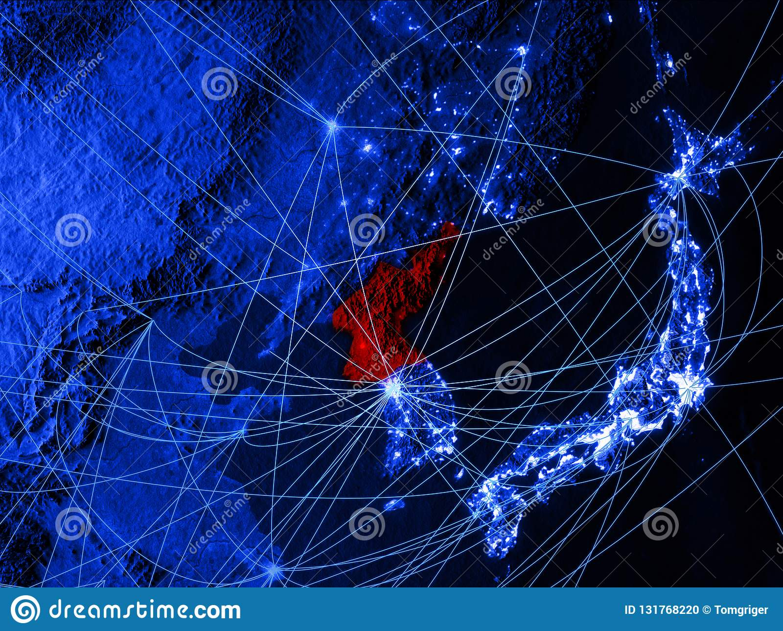 North Korea On Blue Digital Map With Networks Concept Of
