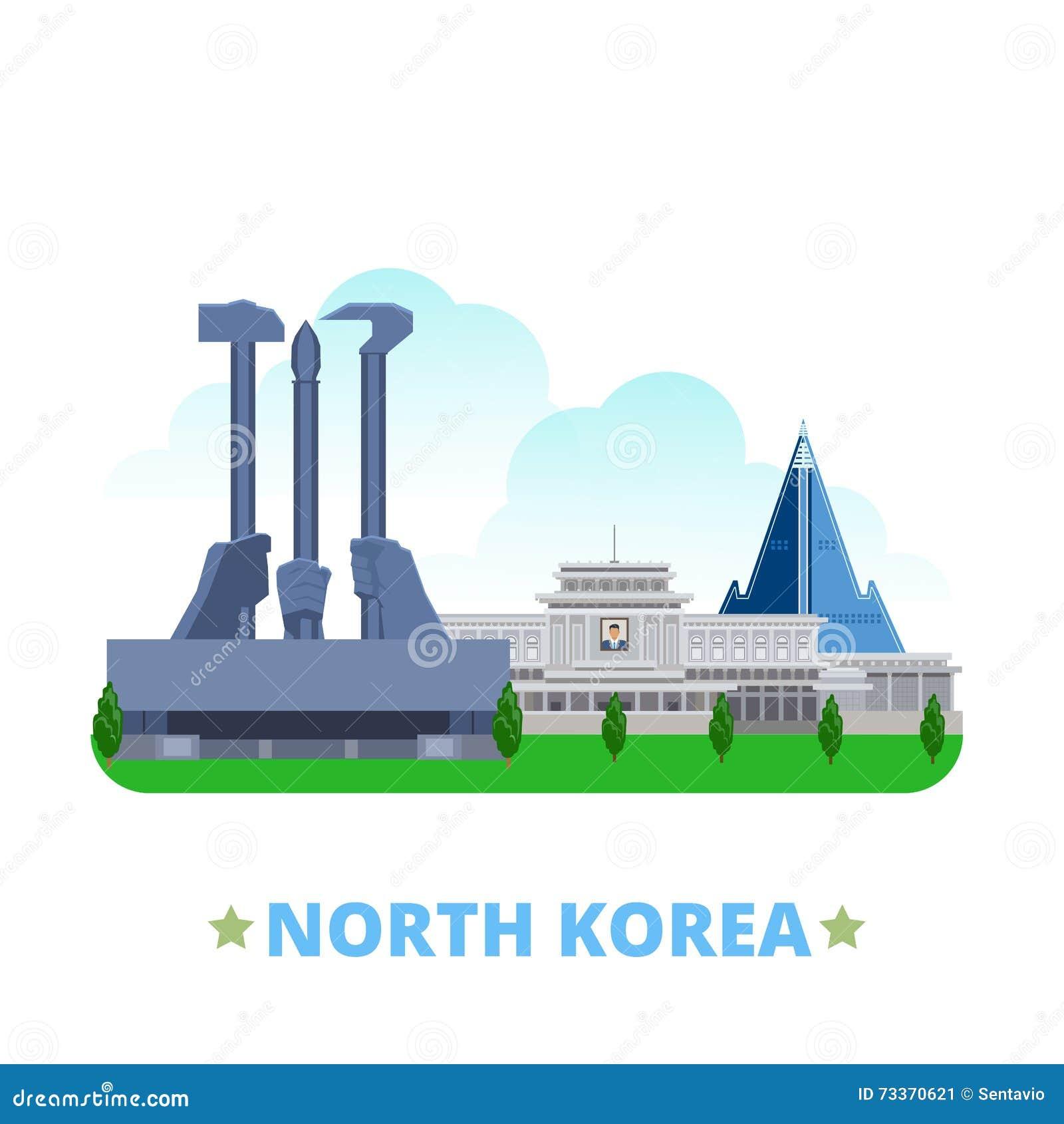 North Korea country design template Flat cartoon s