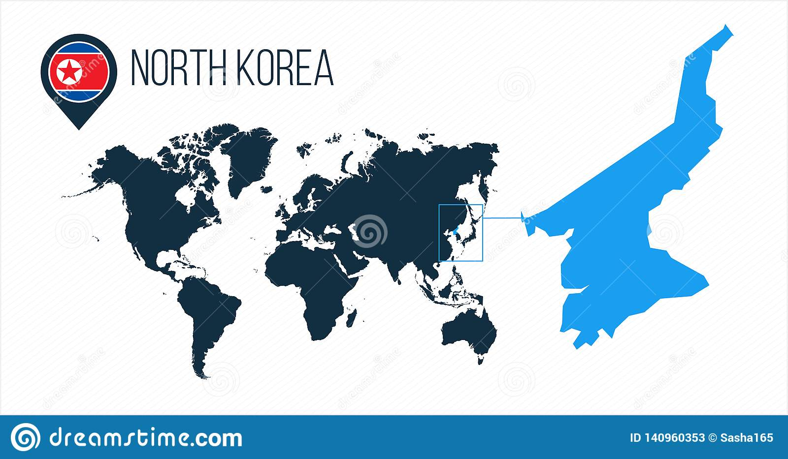 North Korea Map Located On A World Map With Flag And Map ...