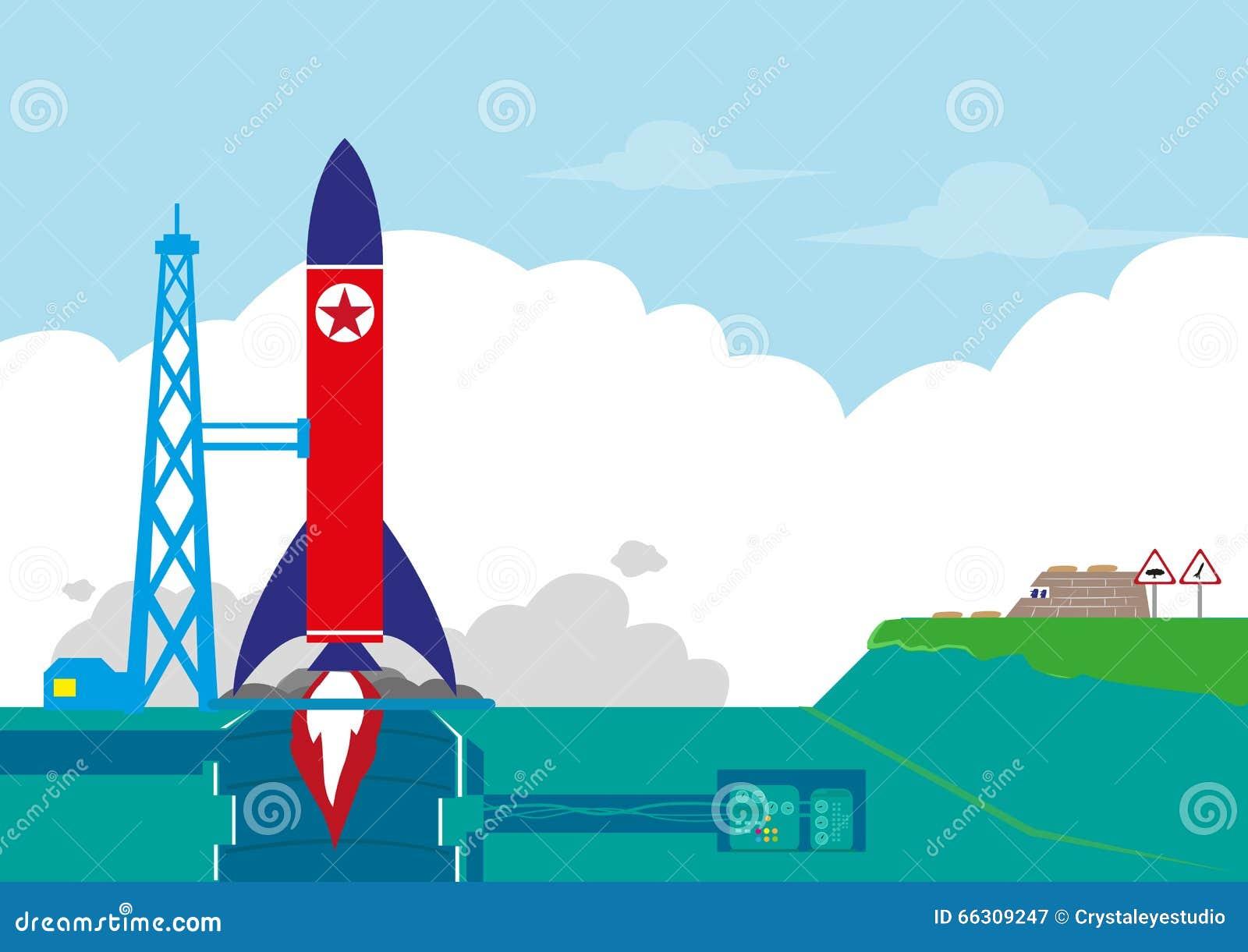 North Korea or NoKor tests its Ballistic Missile or Rocket Orbit Satellite concept. Editable Clip Art.