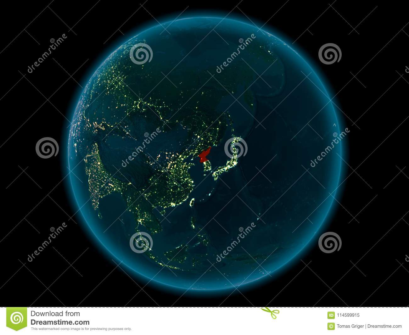 North Korea On Planet Earth In Space At Night Stock Illustration
