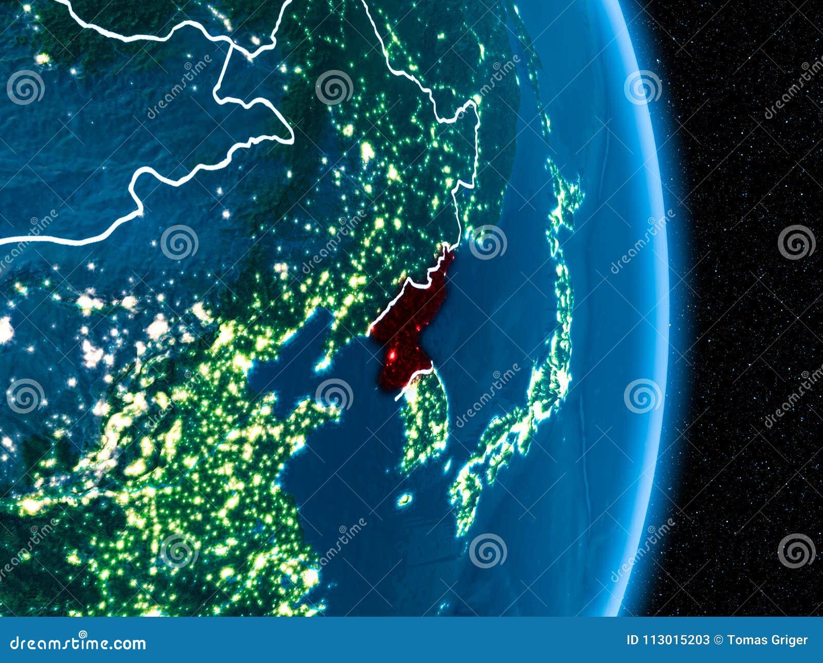 North Korea In Red At Night Stock Illustration Illustration Of