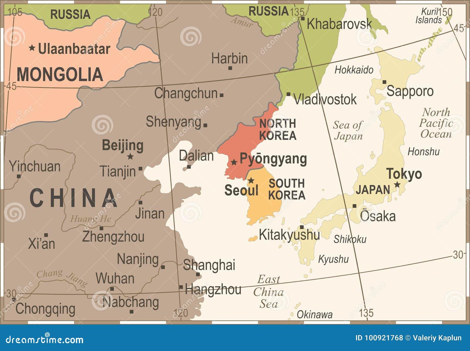 North korea south korea japan china russia mongolia map vintage north korea south korea japan china russia mongolia map vintage detailed vector illustration gumiabroncs Gallery