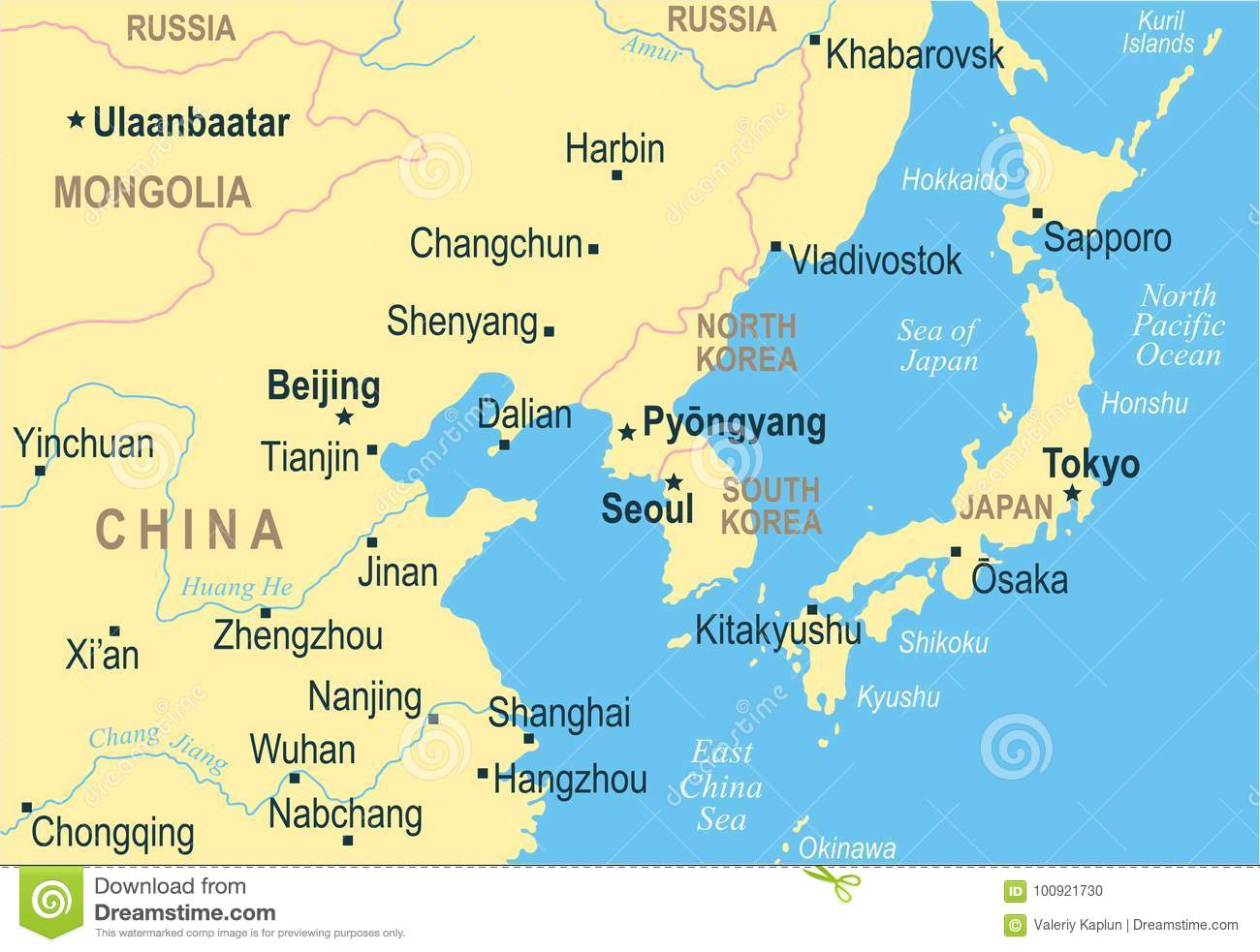 North Korea South Korea Japan China Russia Mongolia Map   Vector