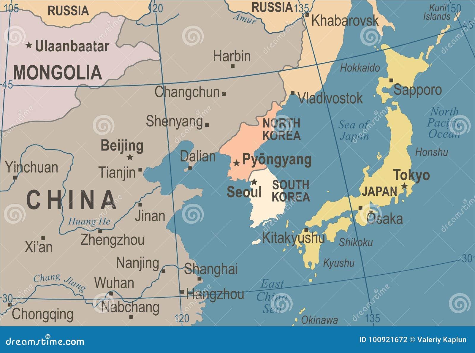 North korea south korea japan china russia mongolia map vintage download north korea south korea japan china russia mongolia map vintage vector illustration stock illustration gumiabroncs Images