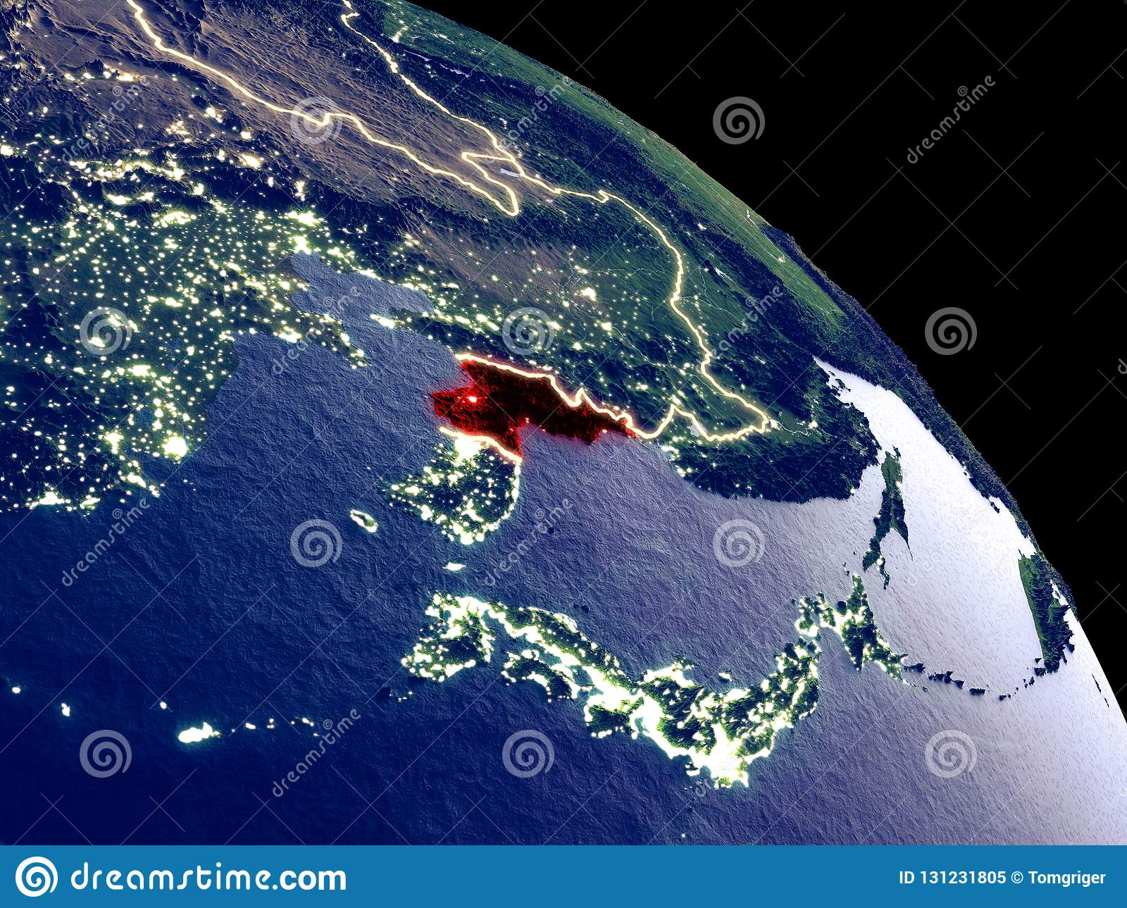 North Korea From Space Stock Illustration Illustration Of Countries
