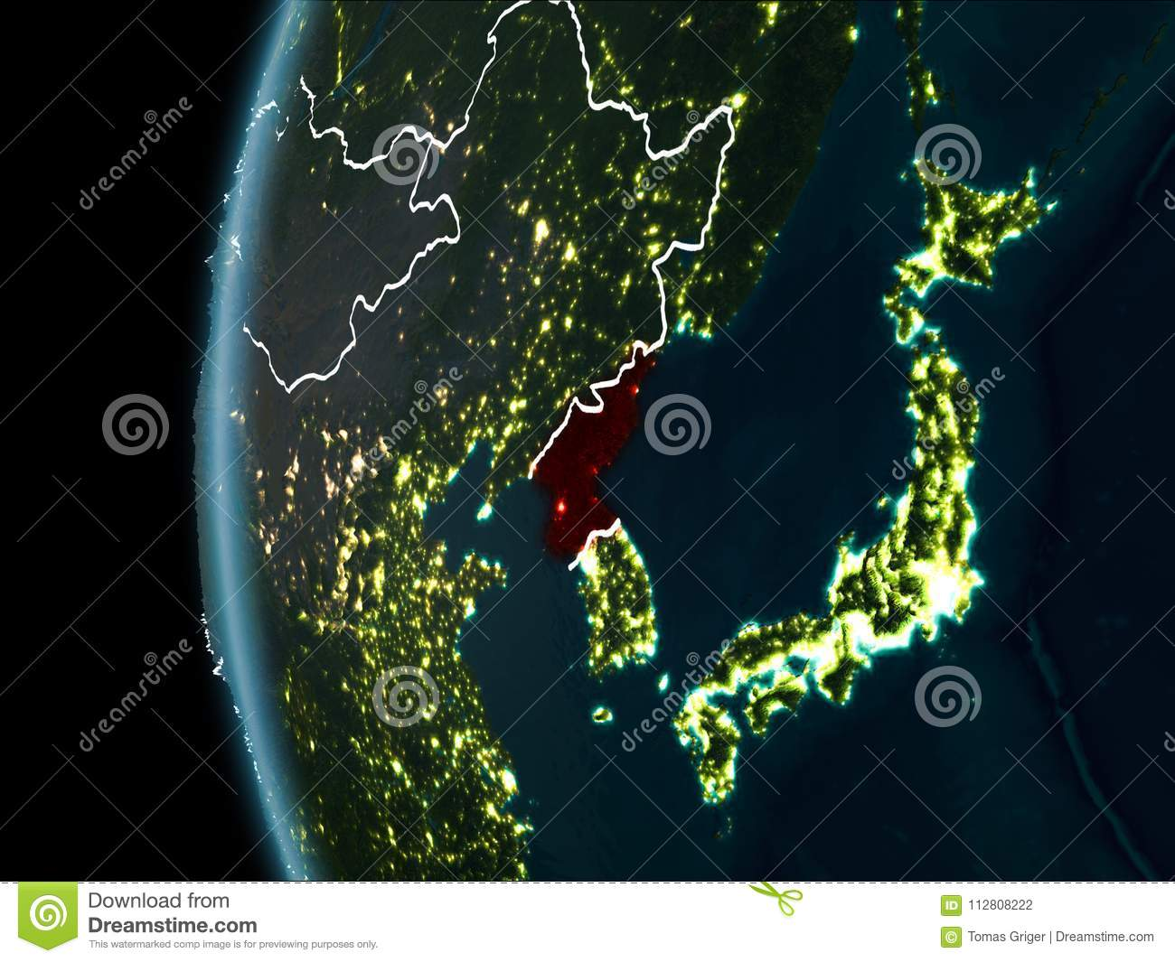 North Korea From Space At Night Stock Photo Image Of Illustration