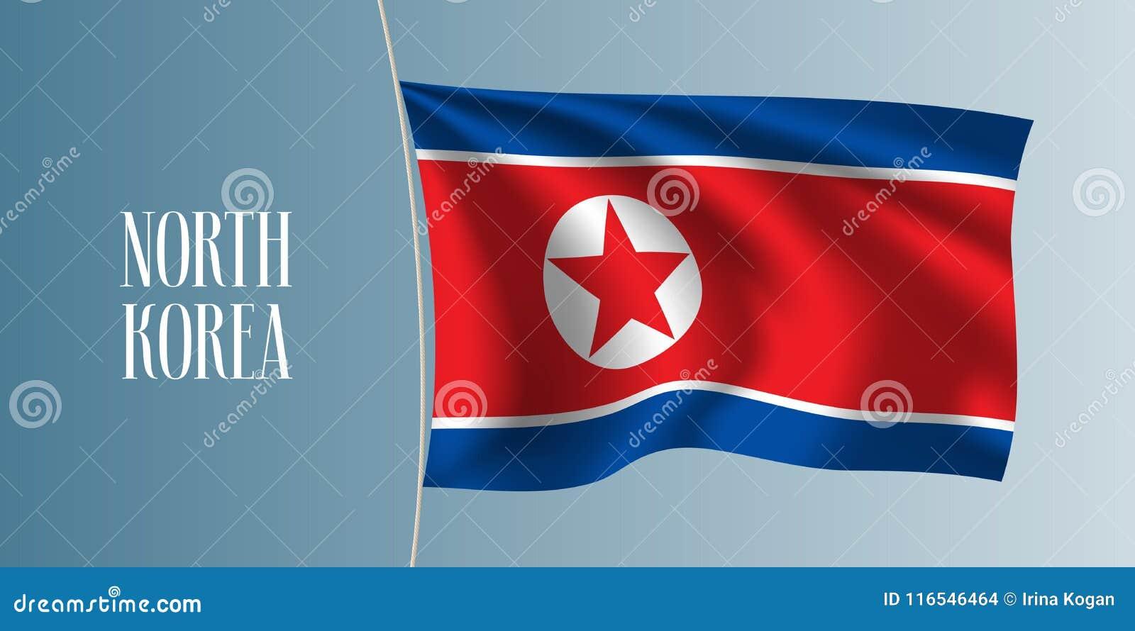North Korea Waving Flag Vector Illustration Stock Vector