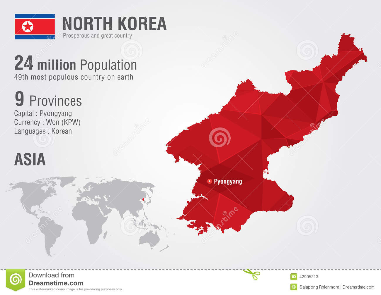 North korea world map with a pixel diamond texture stock image download comp gumiabroncs Image collections