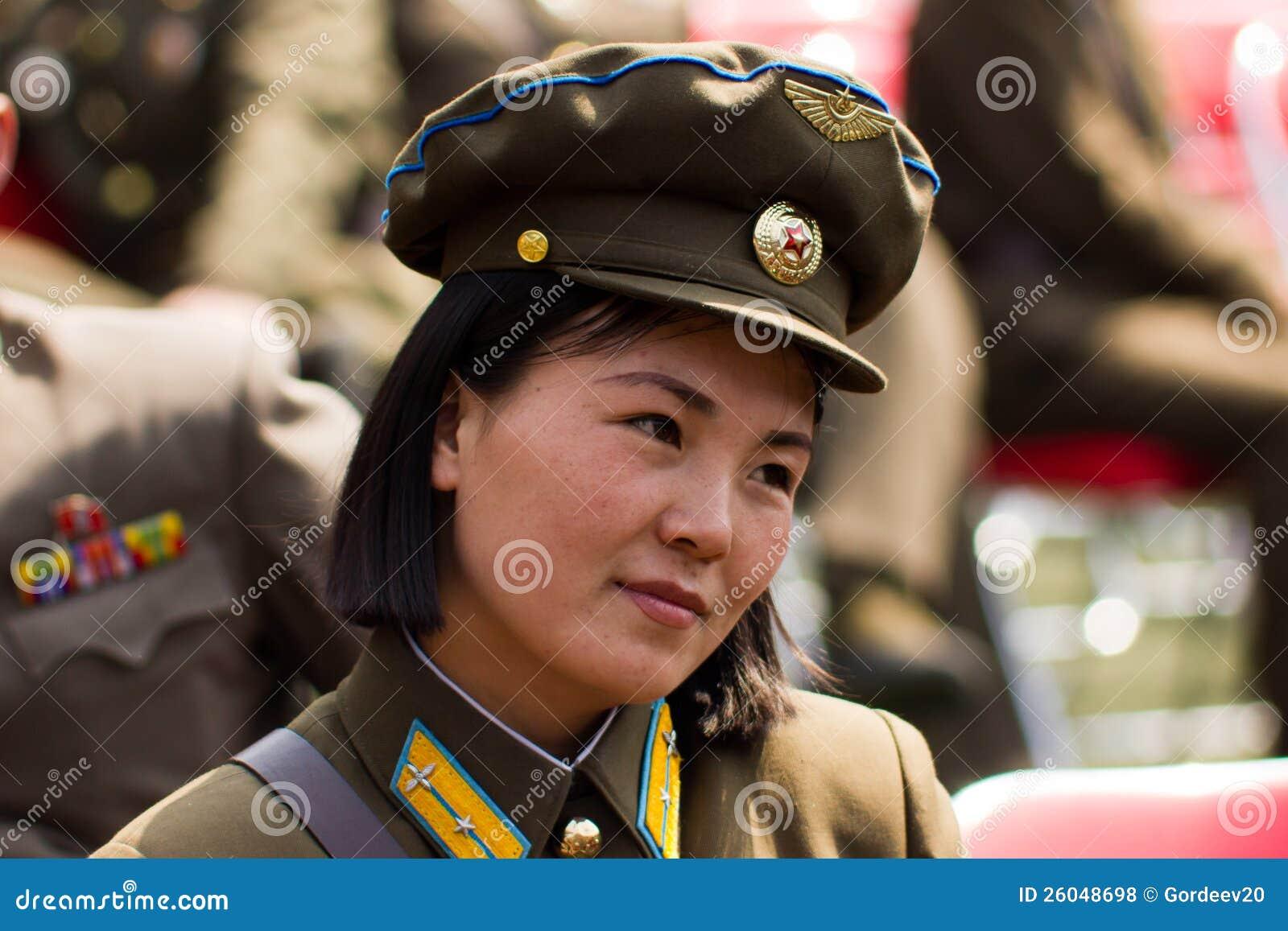 north korean army woman in pyongyan editorial stock photo