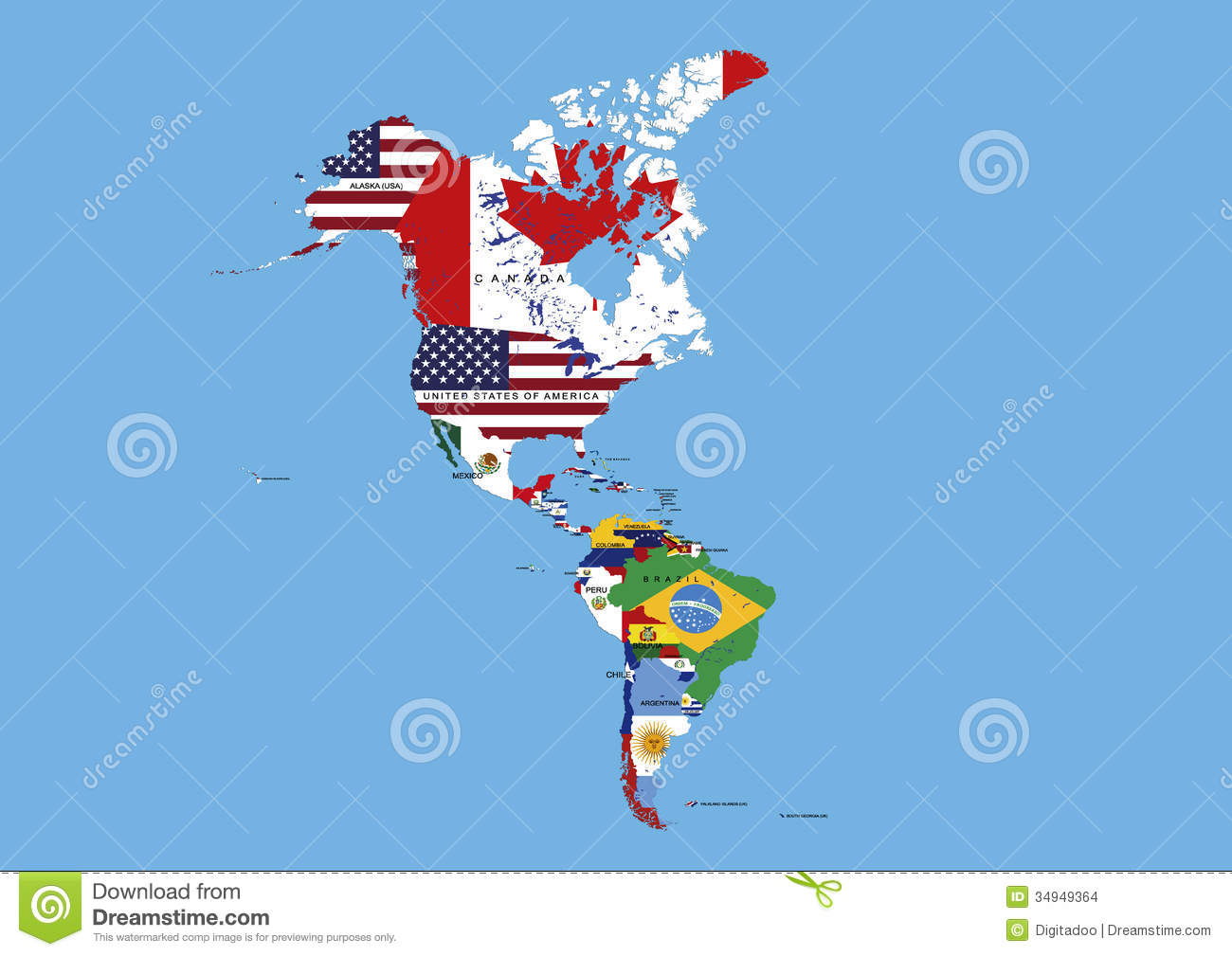 North Middle And South America Flags Map Names Stock Photo