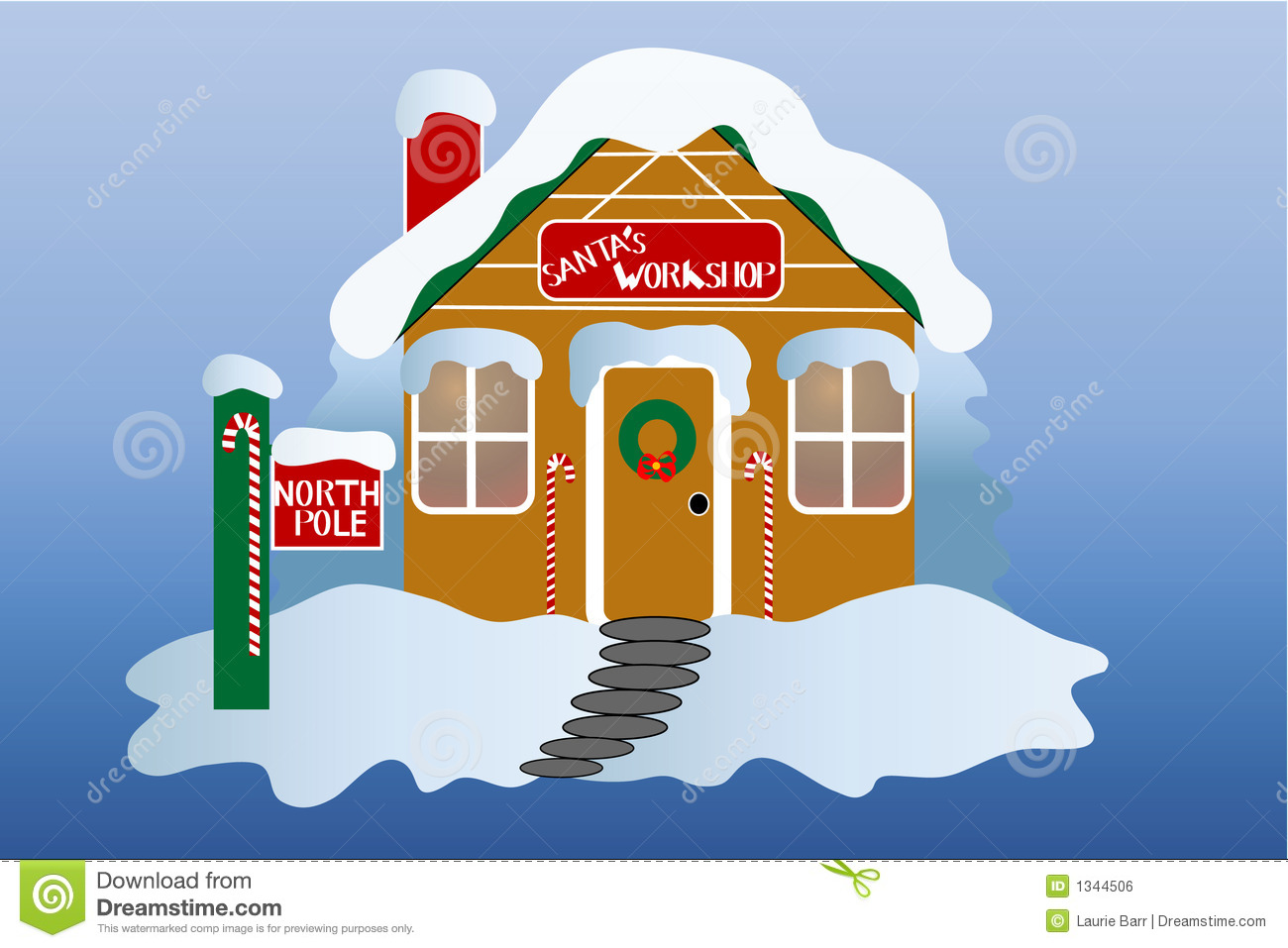 Santa's workshop at the north pole. Decorated for the holiday season ...