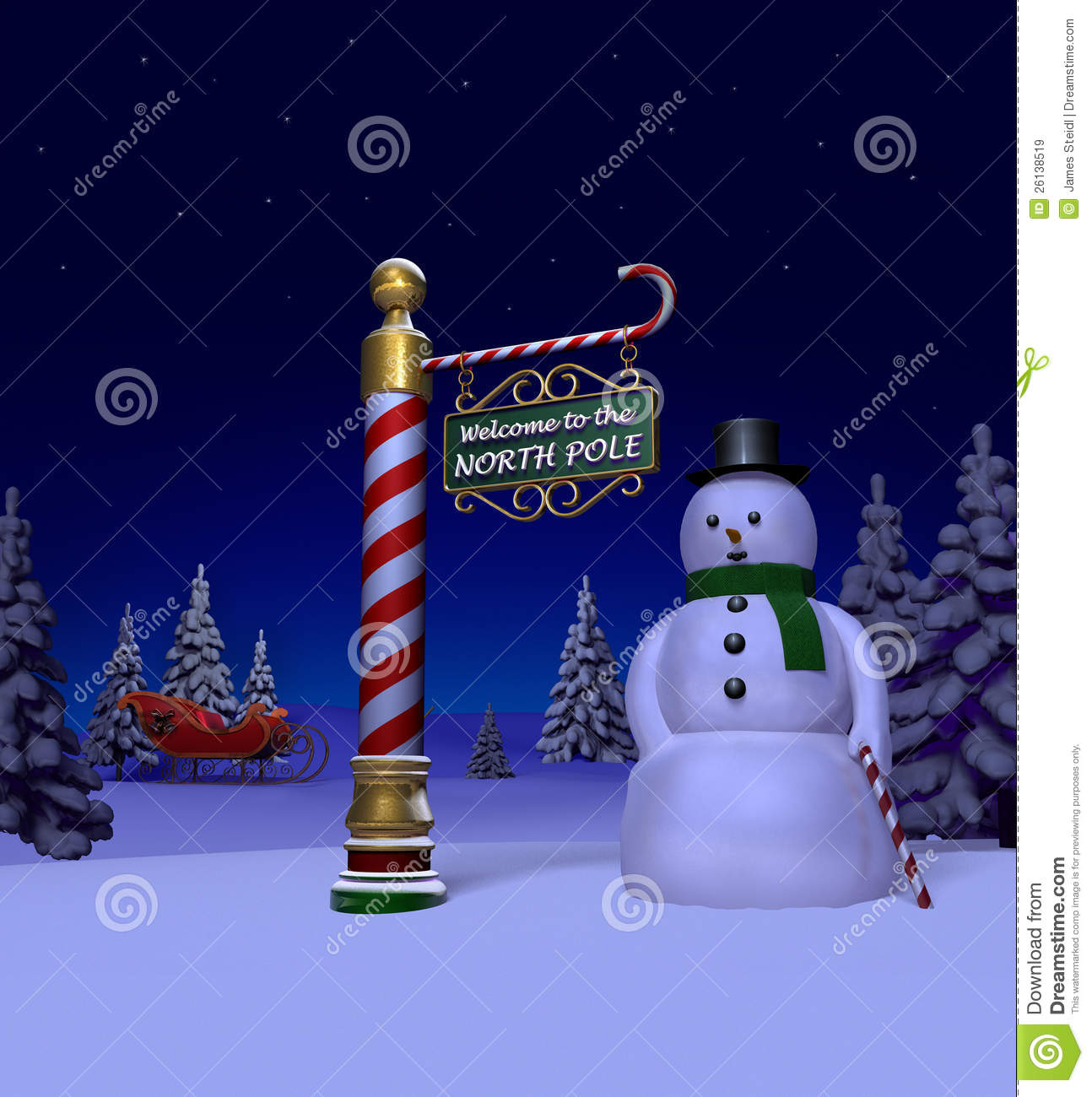 Night time snow scene at the north pole featuring the north pole sign ...
