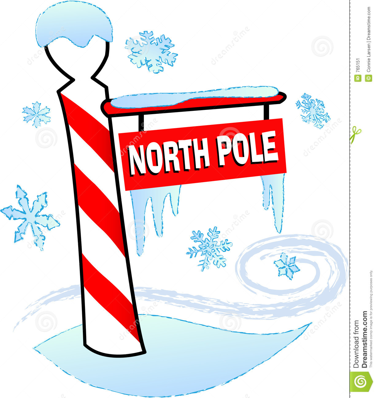 Illustration of a north pole sign surrounded by snow and ice.