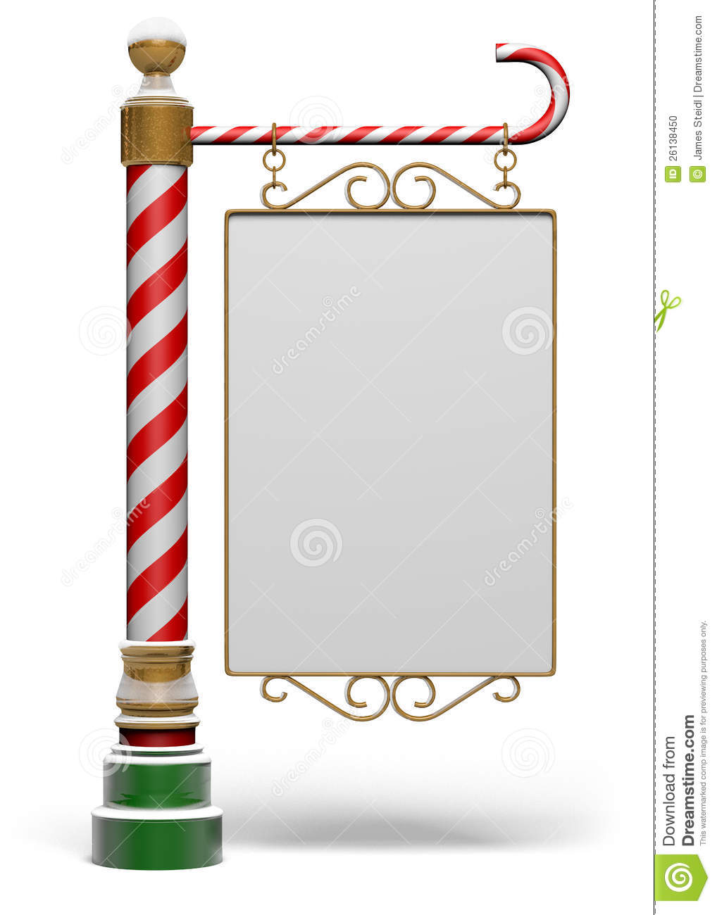 Isolated blank north pole sign with clipping path and space for copy.
