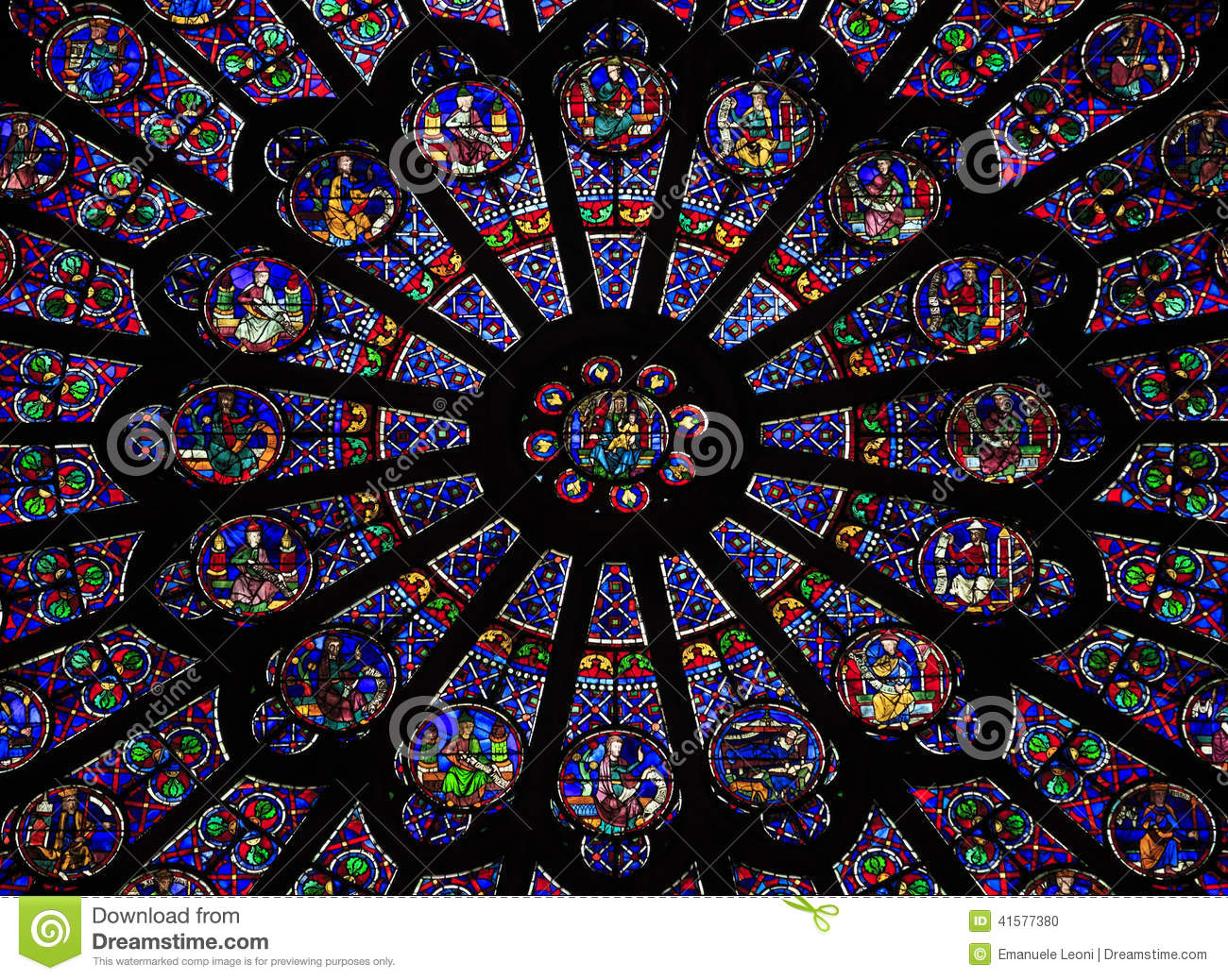 the north rose window at notre dame cathedral paris stock