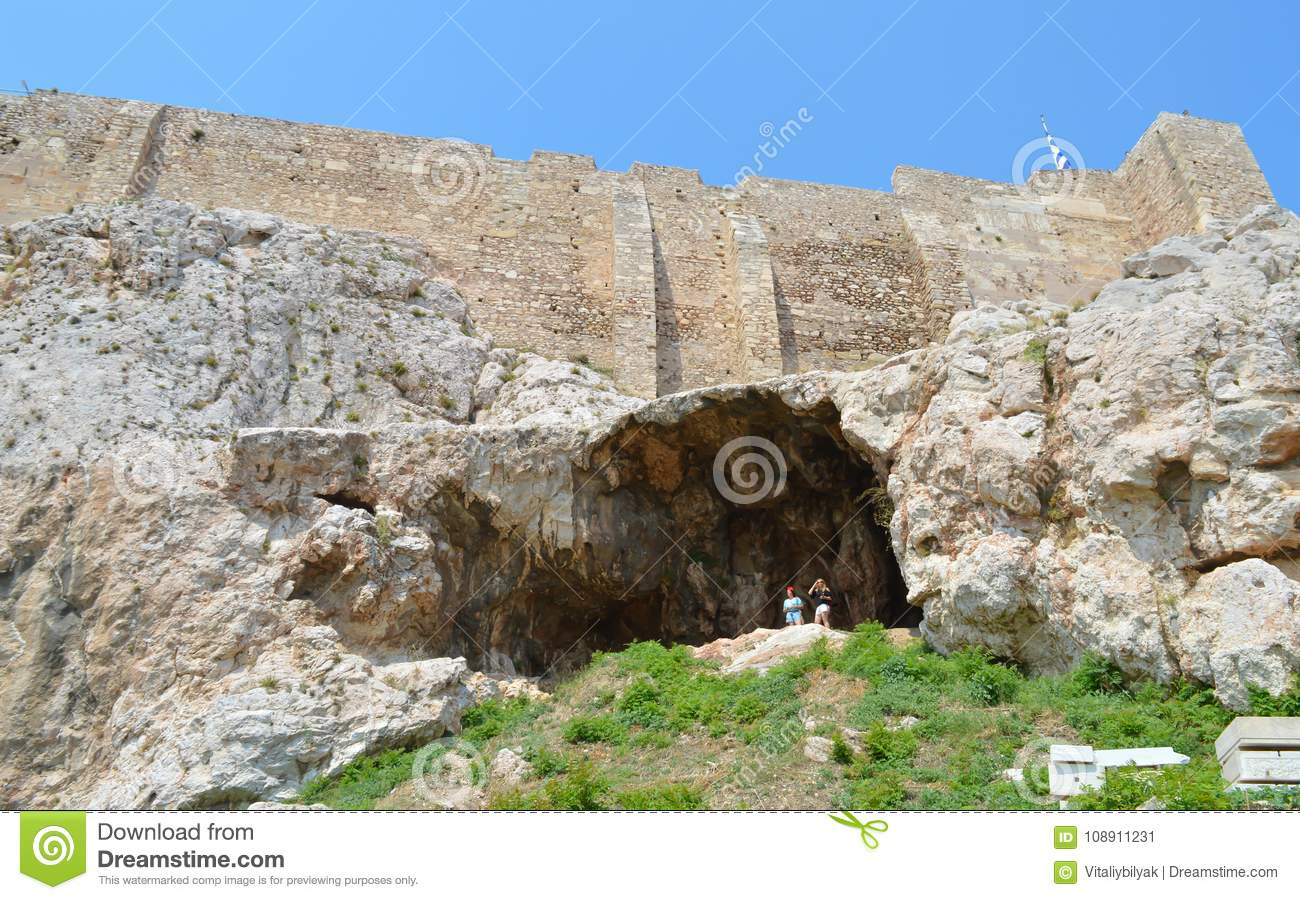 North slopes of Acropolis in Athens, Greece on June 16, 2017.